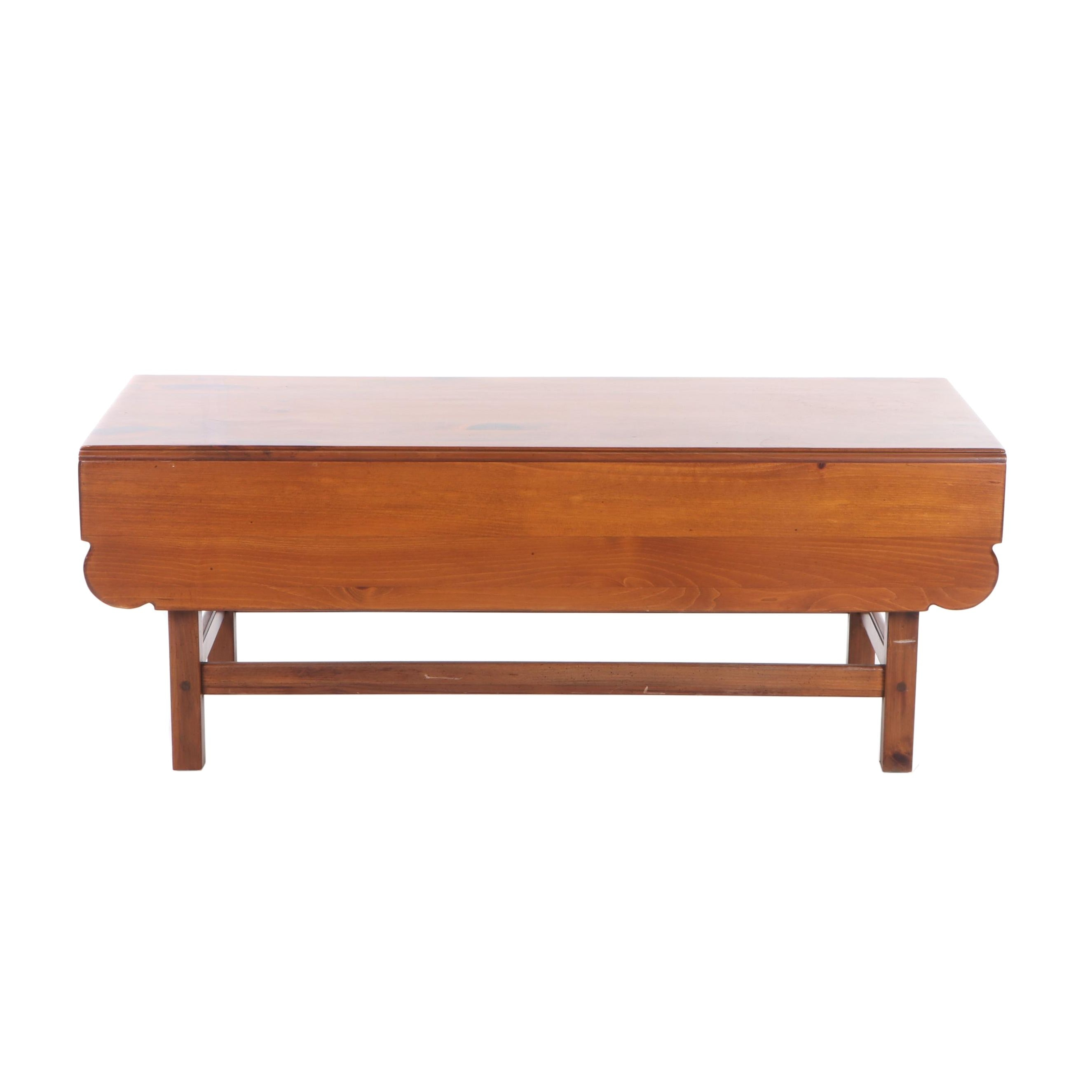 Contemporary Pine Drop Leaf Coffee Table