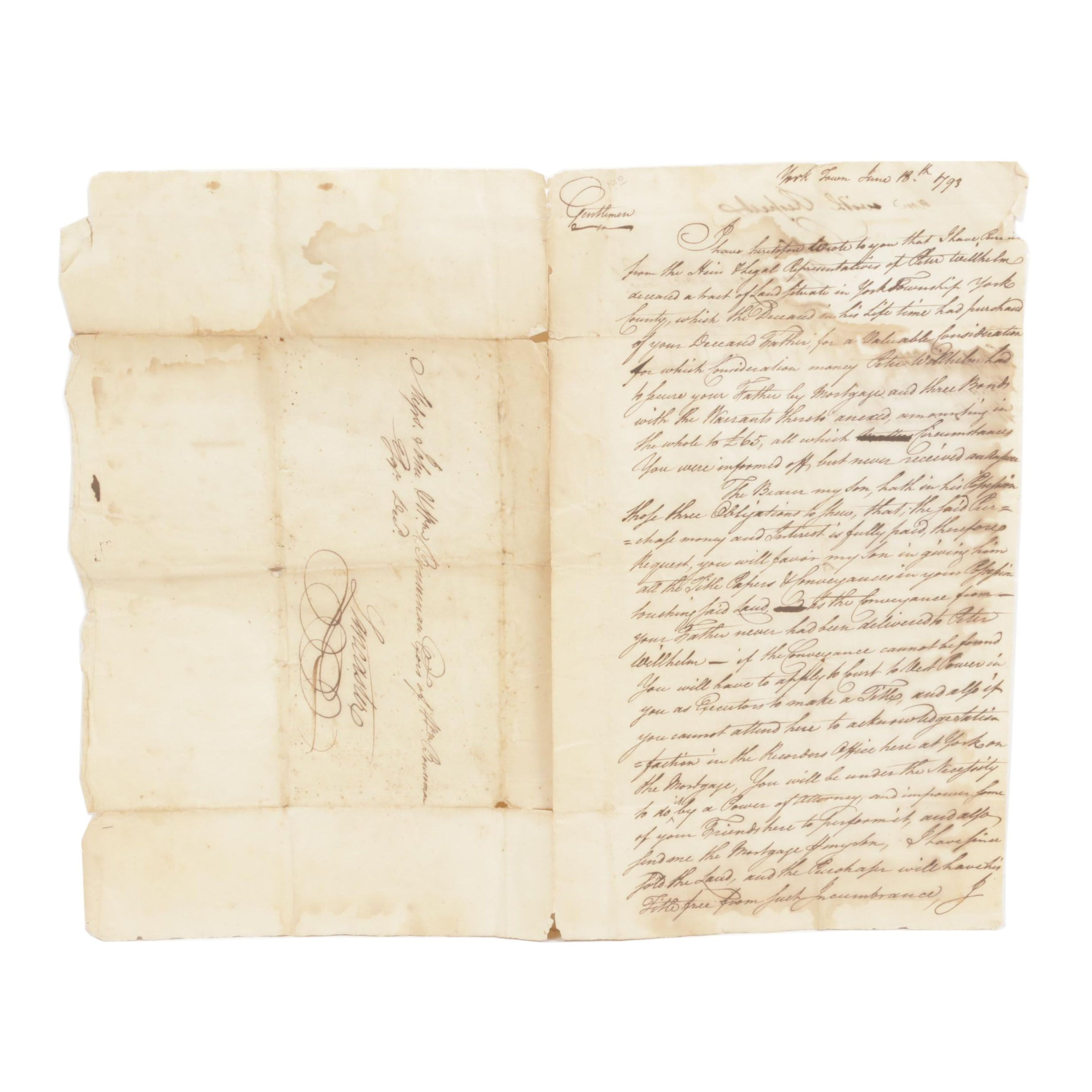 Zach. Shryart Colonial Legal Correspondence, 1793