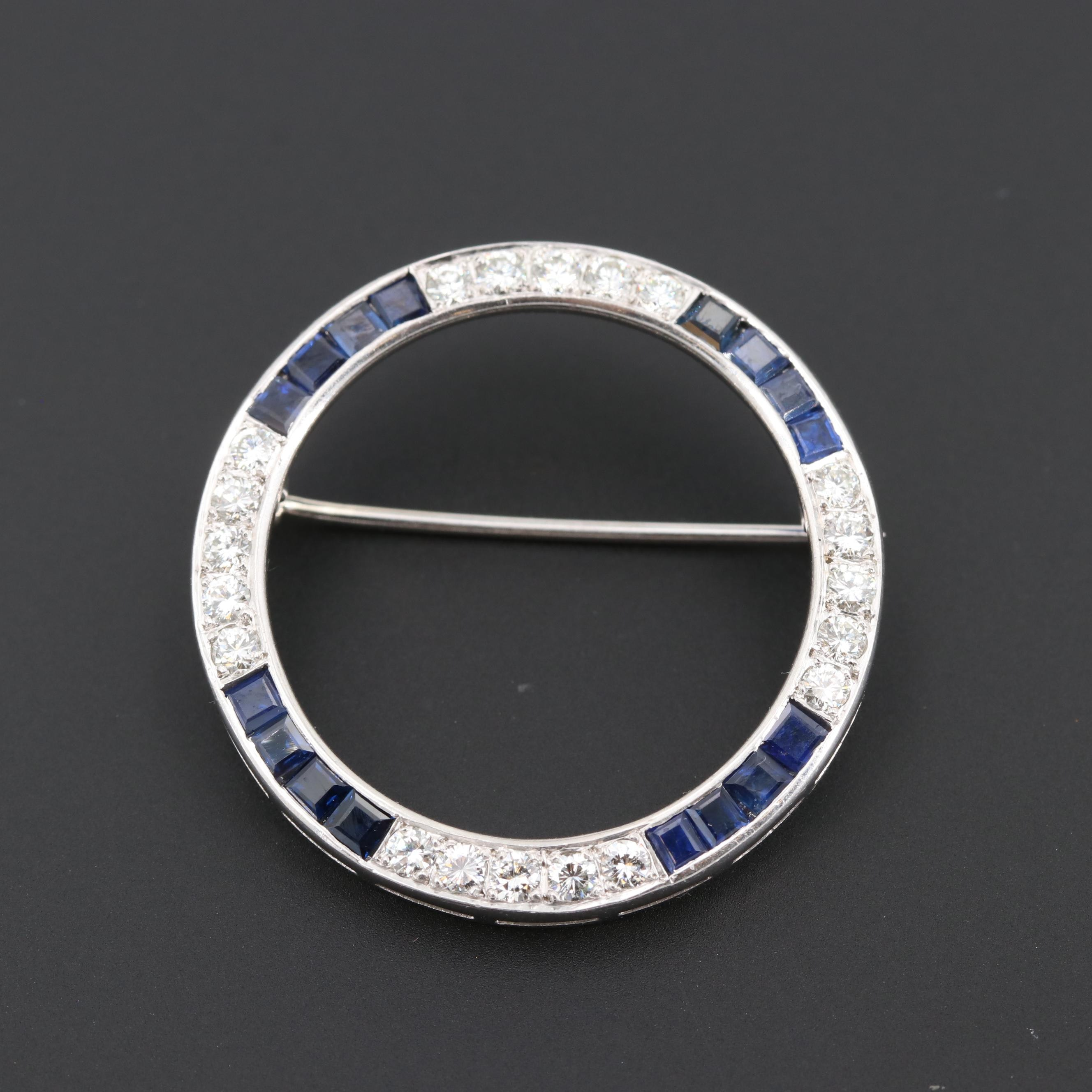 Art Deco Platinum Sapphire and Diamond Circle Brooch
