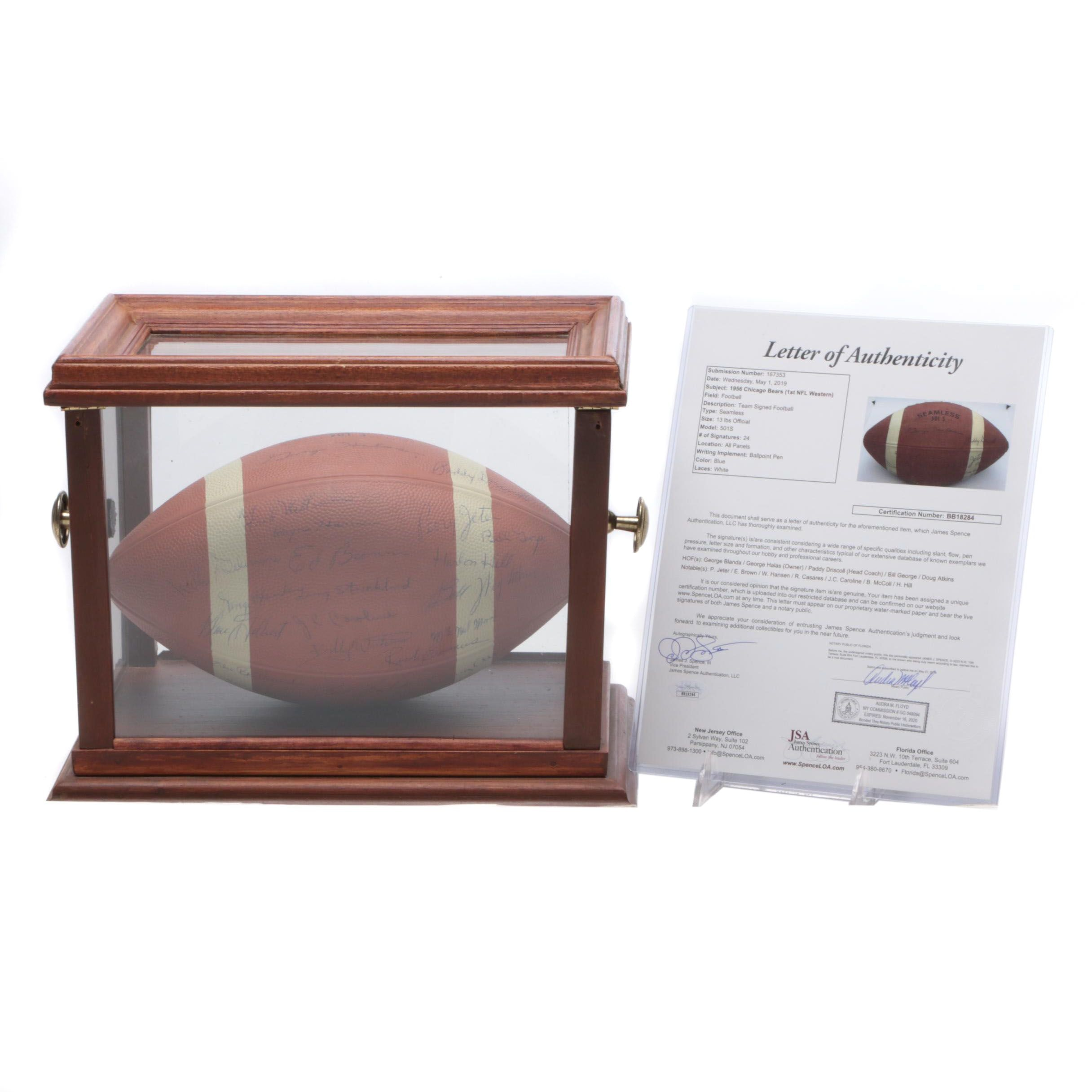 1956 Chicago Bears NFL Team Signed Football with George Hallas, JSA Full Letter