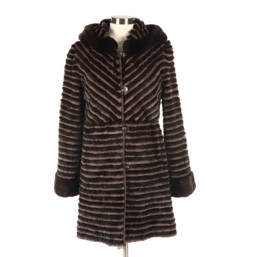 Dyed Mink and Rex Rabbit Fur Reversible Brown Coat with Hood