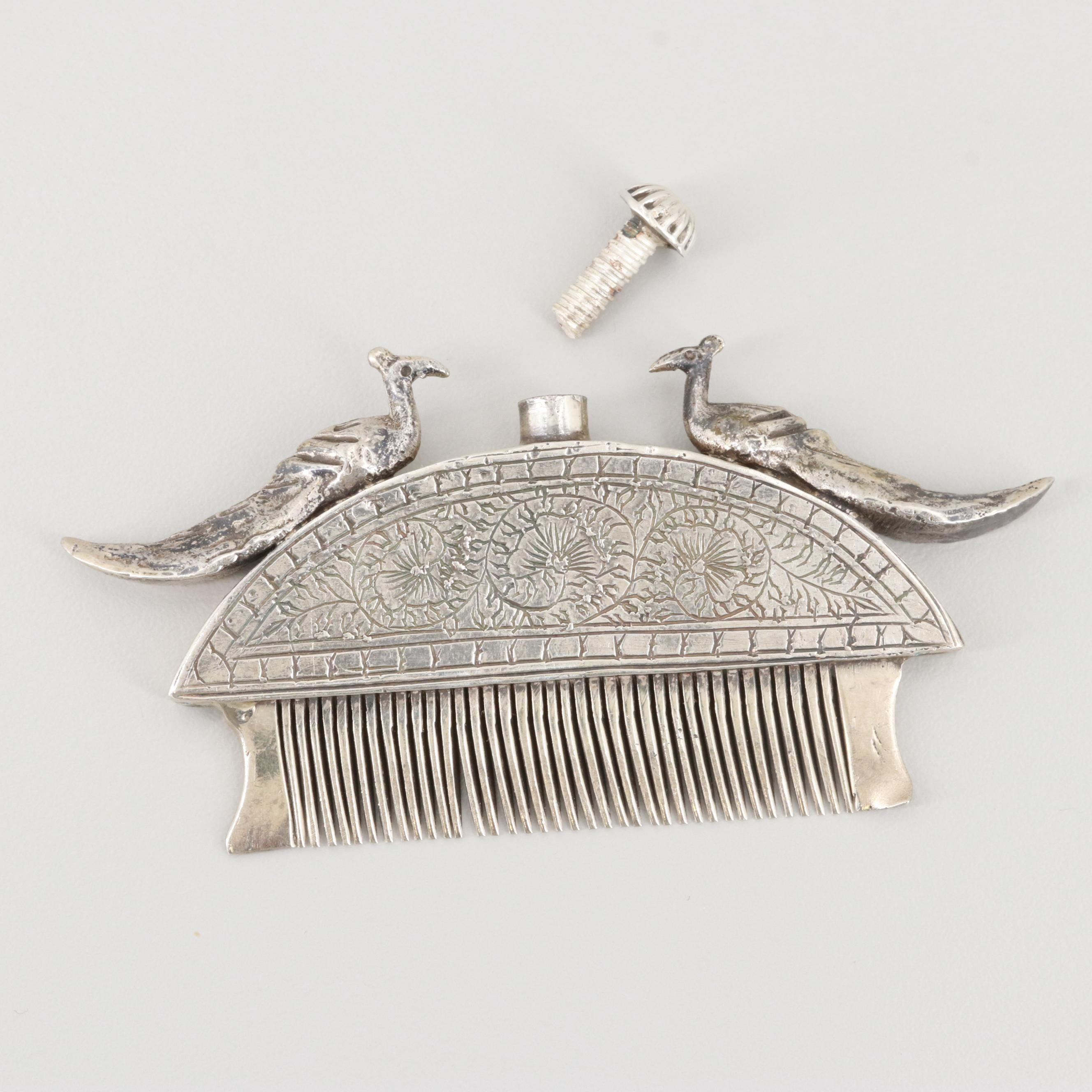 Antique North India Rajasthan 800 Silver Comb with Perfume Resevoir
