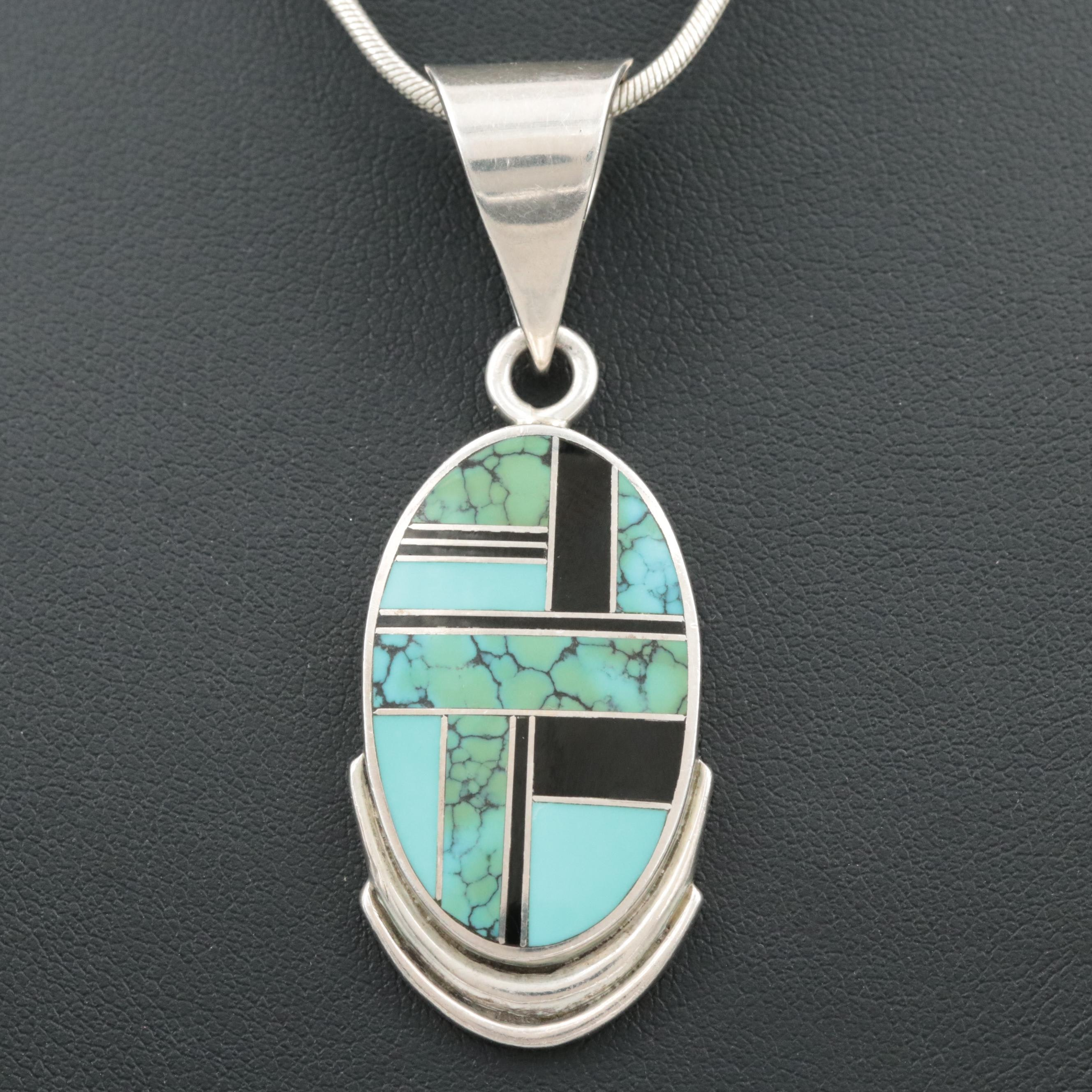Sterling Silver Turquoise, Resin and Imitation Turquoise  Pendant Necklace