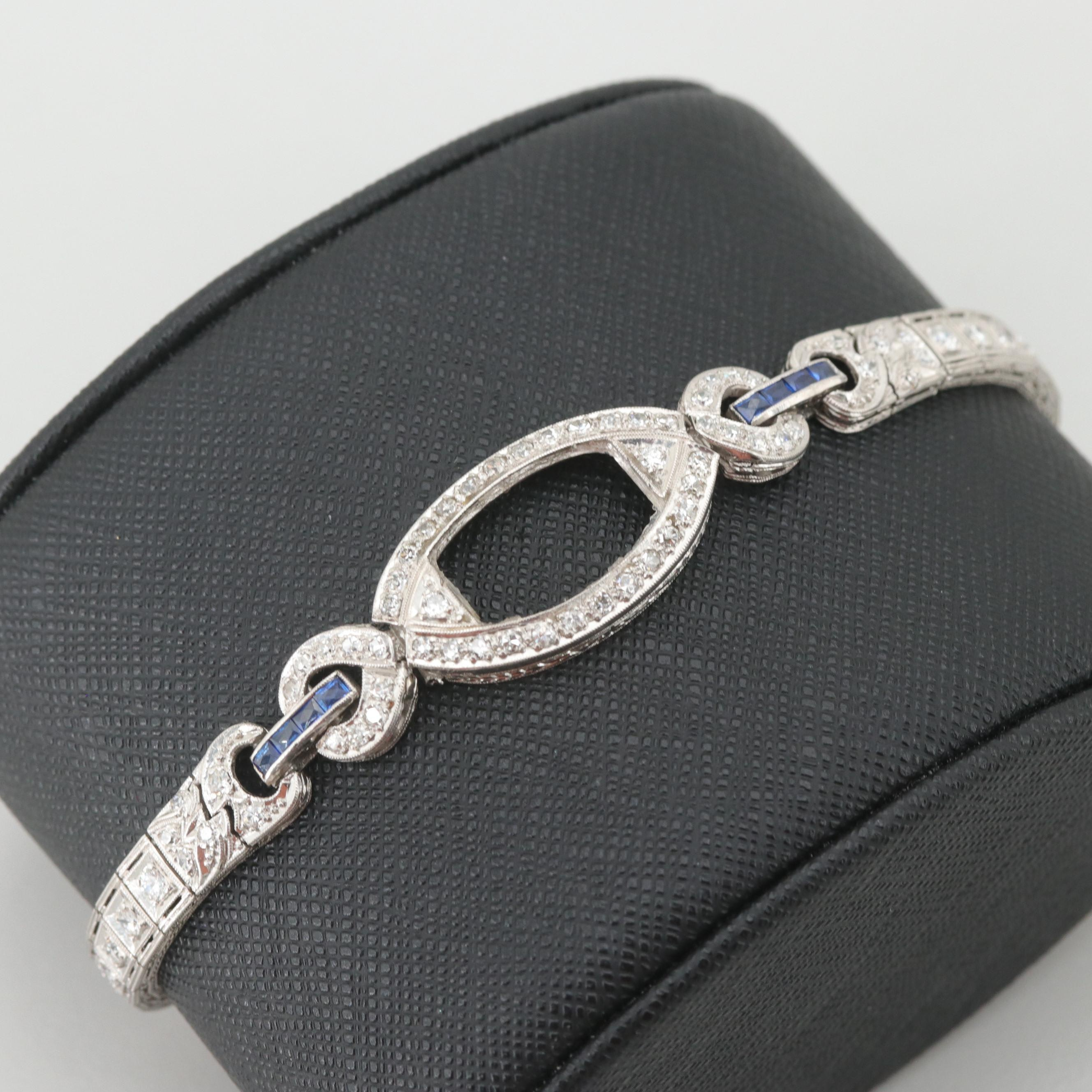 Art Deco Platinum 1.74 CTW Diamond and Synthetic Sapphire Bracelet