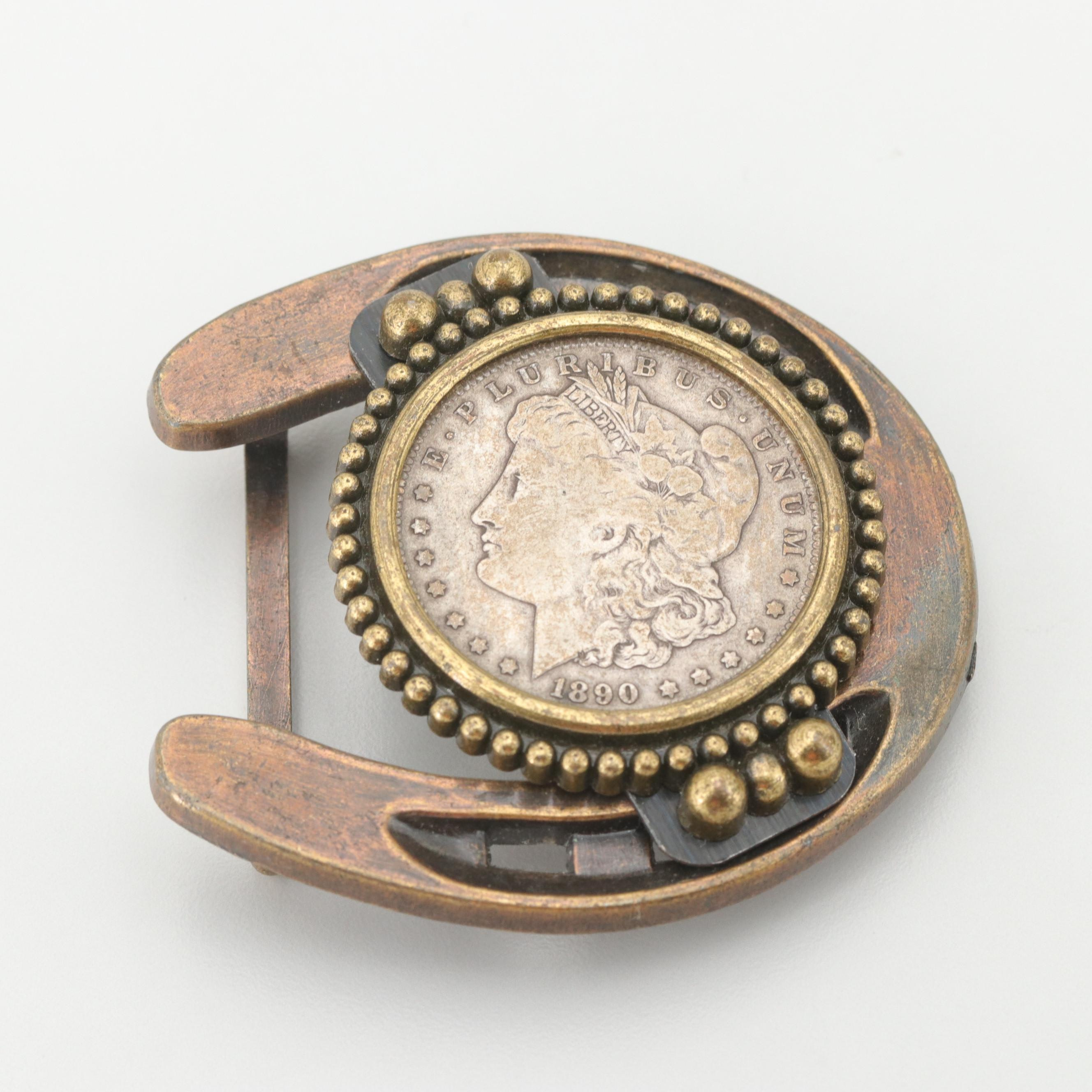 Southwestern Style Horseshoe Belt Buckle with 1890 Morgan Silver Dollar