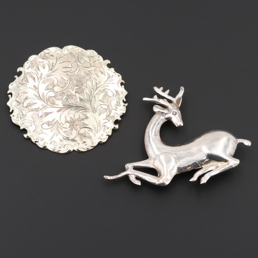 Sterling Silver Stag and Ornamental Brooches