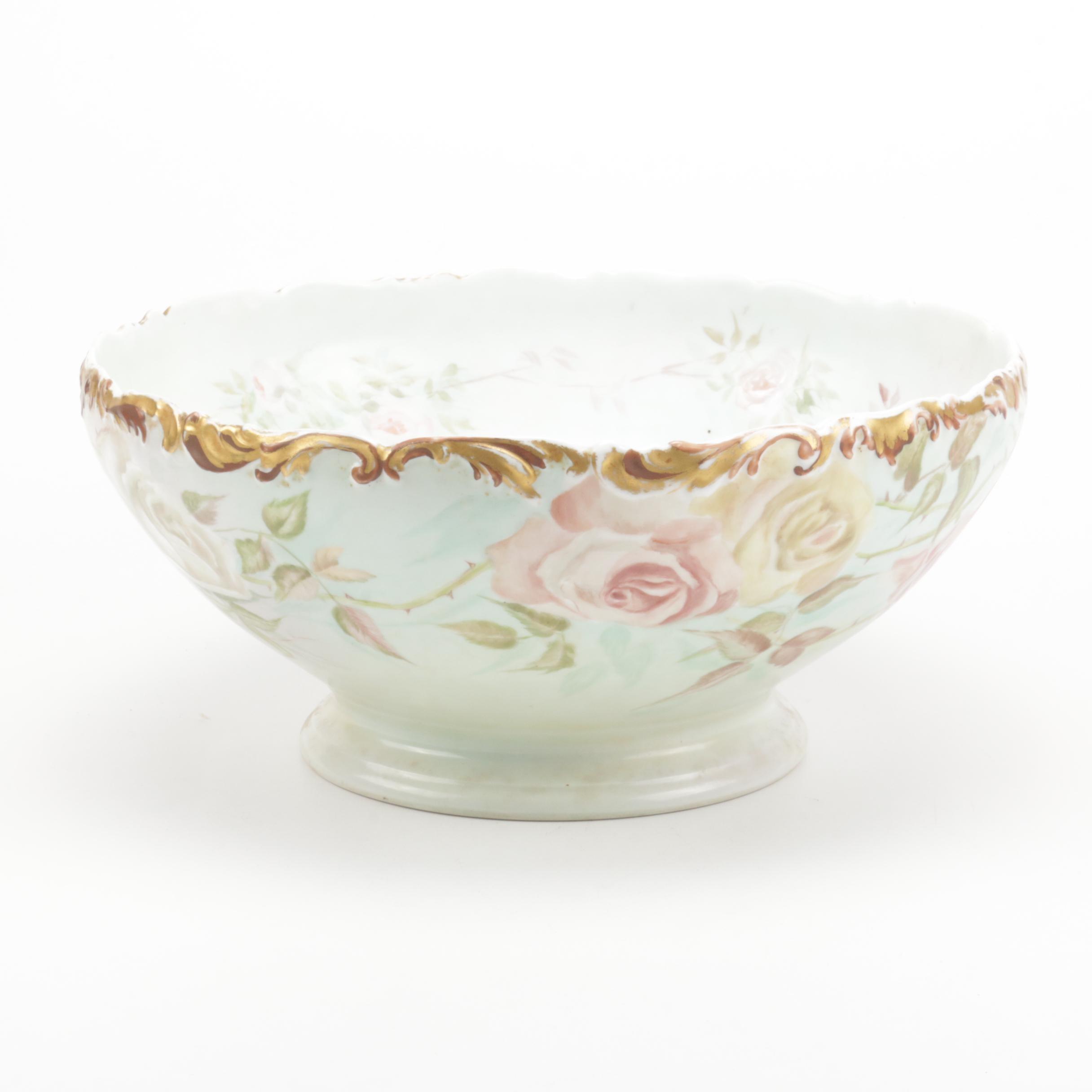 T & V Hand Painted Porcelain Centerpiece Bowl