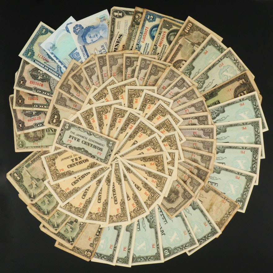 Eighty-Nine Pieces of Vintage Foreign Currency