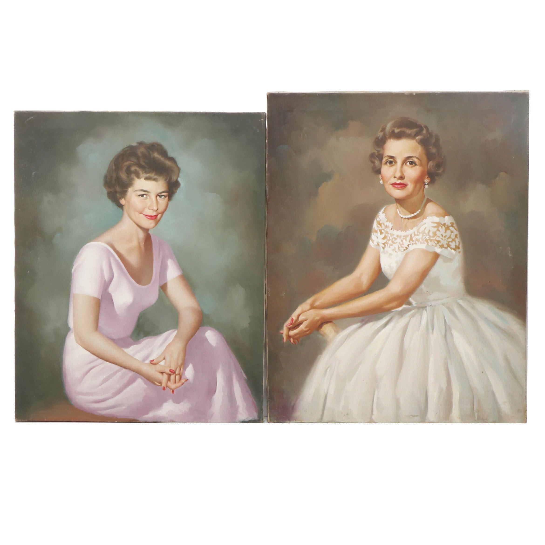 Mid Century Portraits Oil Paintings
