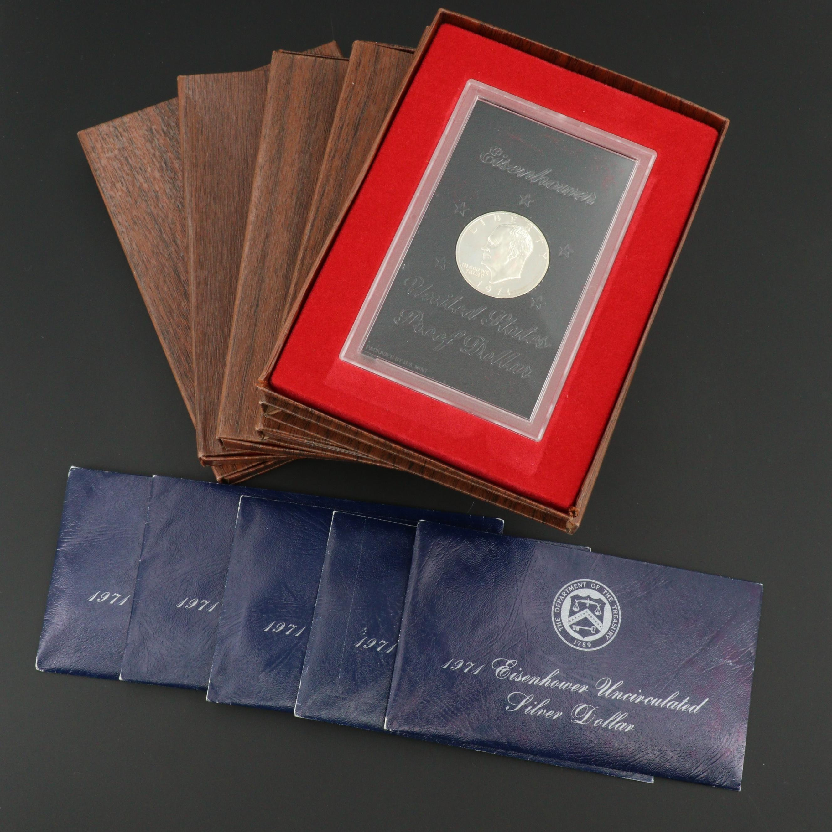 Ten 1971 Eisenhower Silver Dollars Including Five Proof and Five Uncirculated