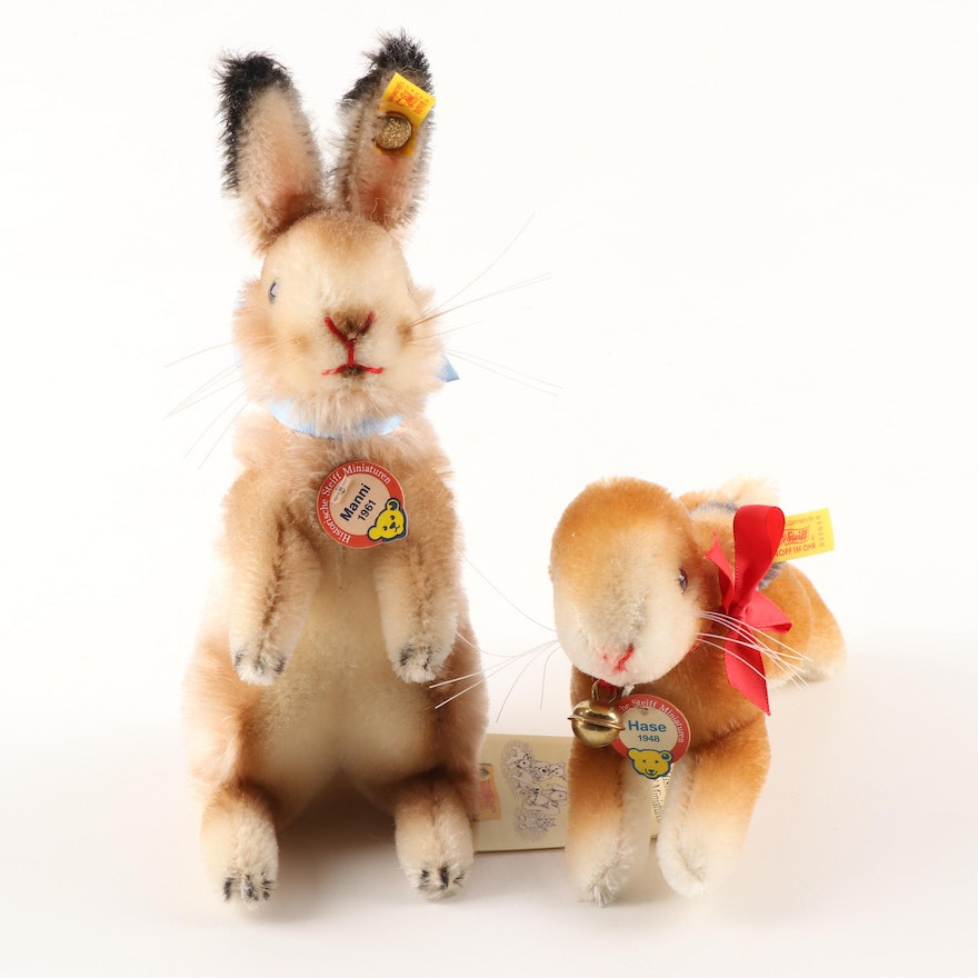 """Steiff Stuffed Animals Including """"Hase"""" and """"Manni"""""""