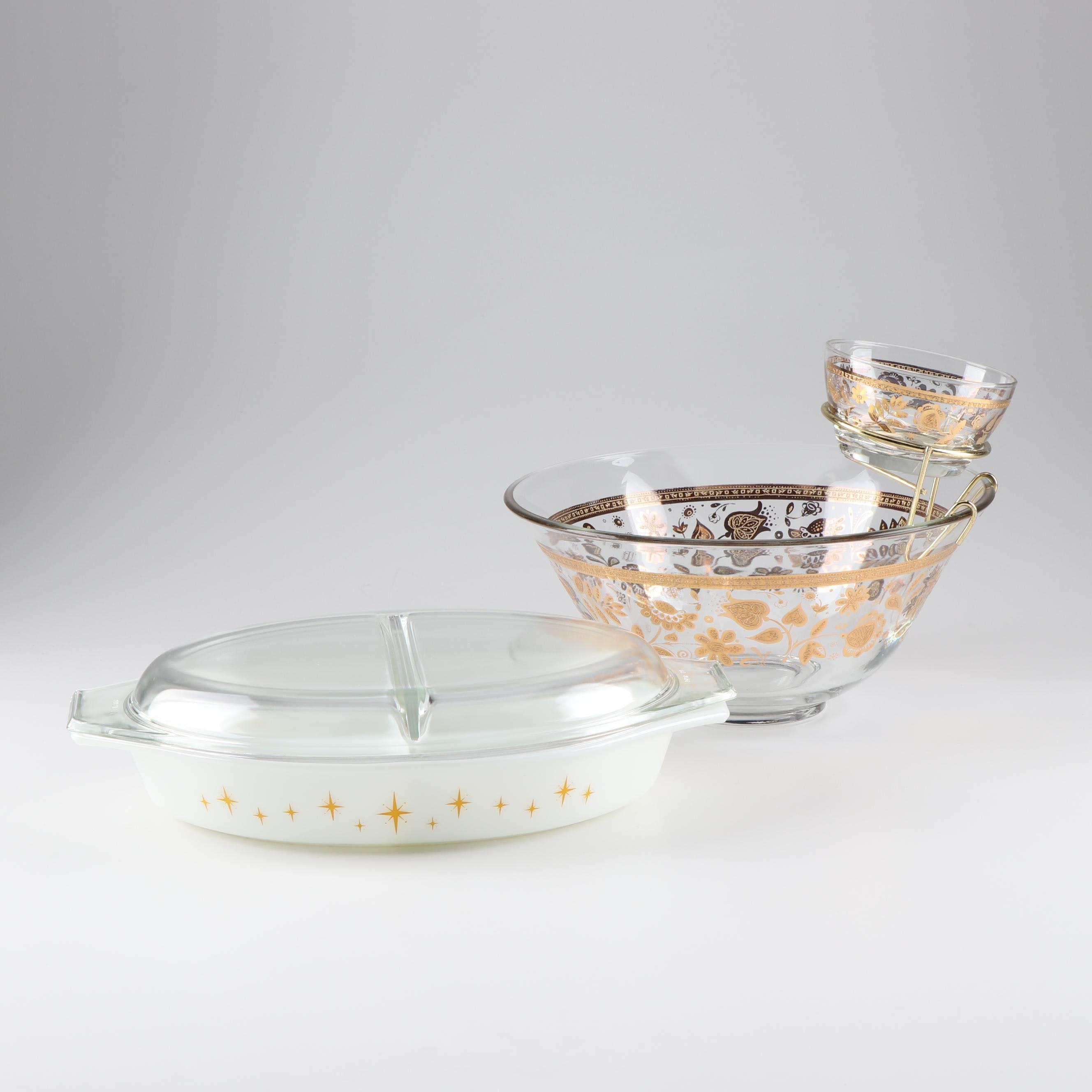 Mid-Century Modern Serveware Including Culver and Pyrex