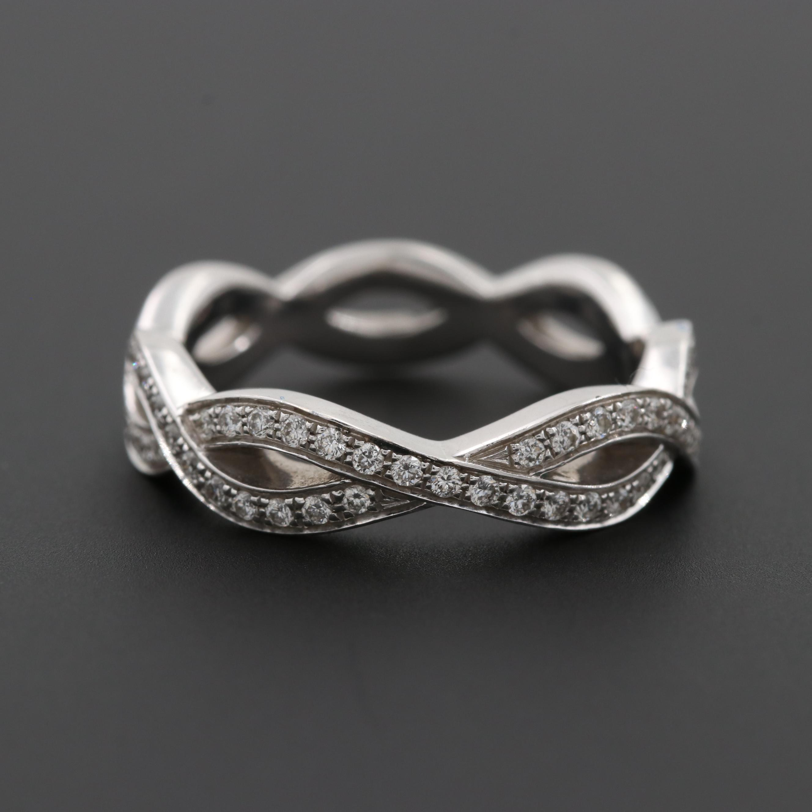 Simon G. 18K White Gold Diamond Braided Band