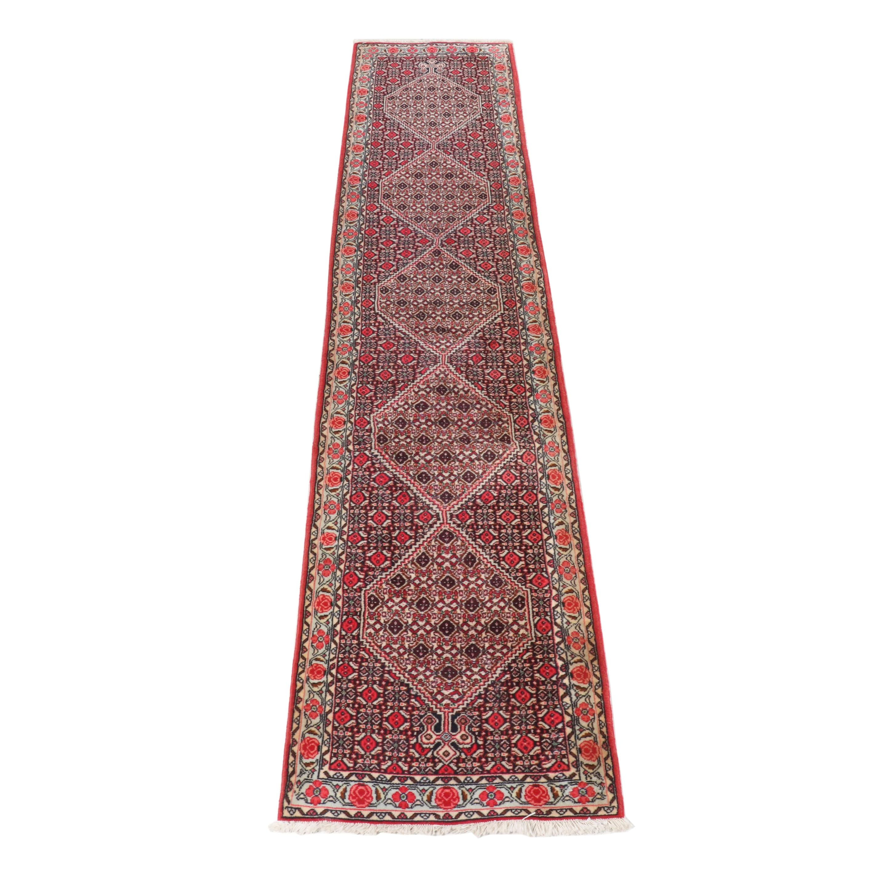 Hand-Knotted Persian Senneh Wool Carpet Runner