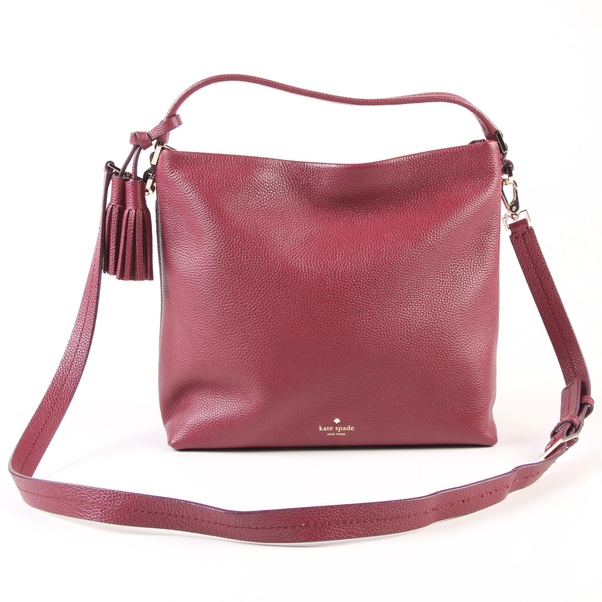 Kate Spade New York Wine Pebbled Leather Convertible Handbag with Tassels