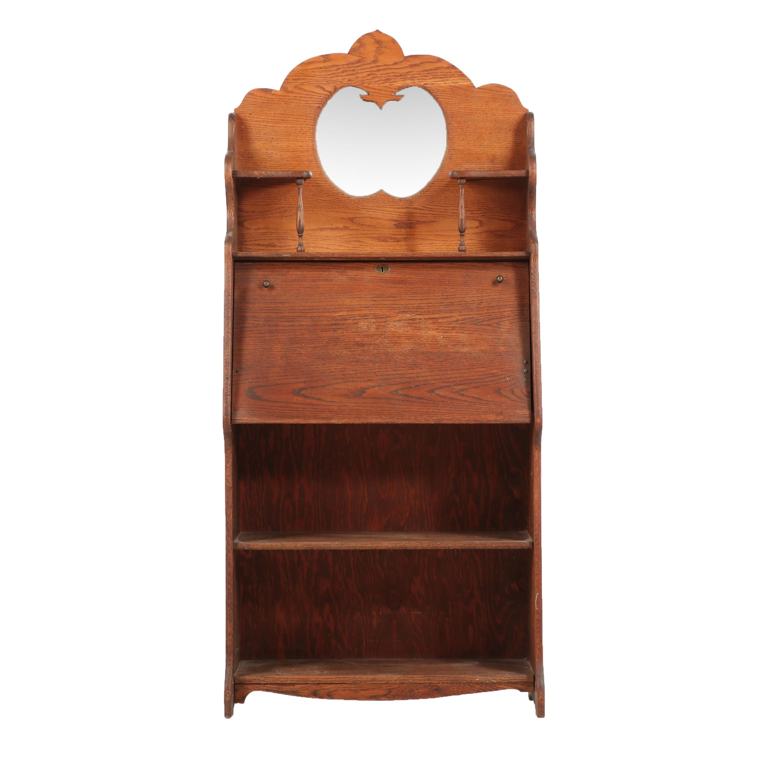 Victorian Oak Secretary Bookcase, Early 20th Century