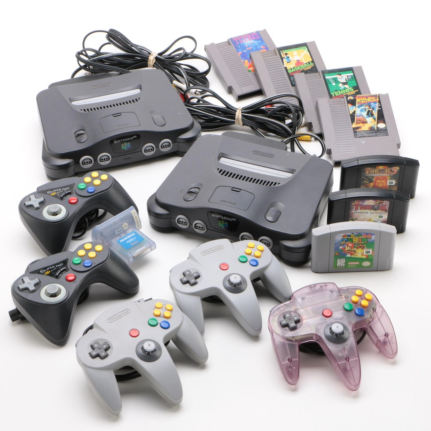 Nintendo 64 Console Systems with Controllers, Games, and NES Games