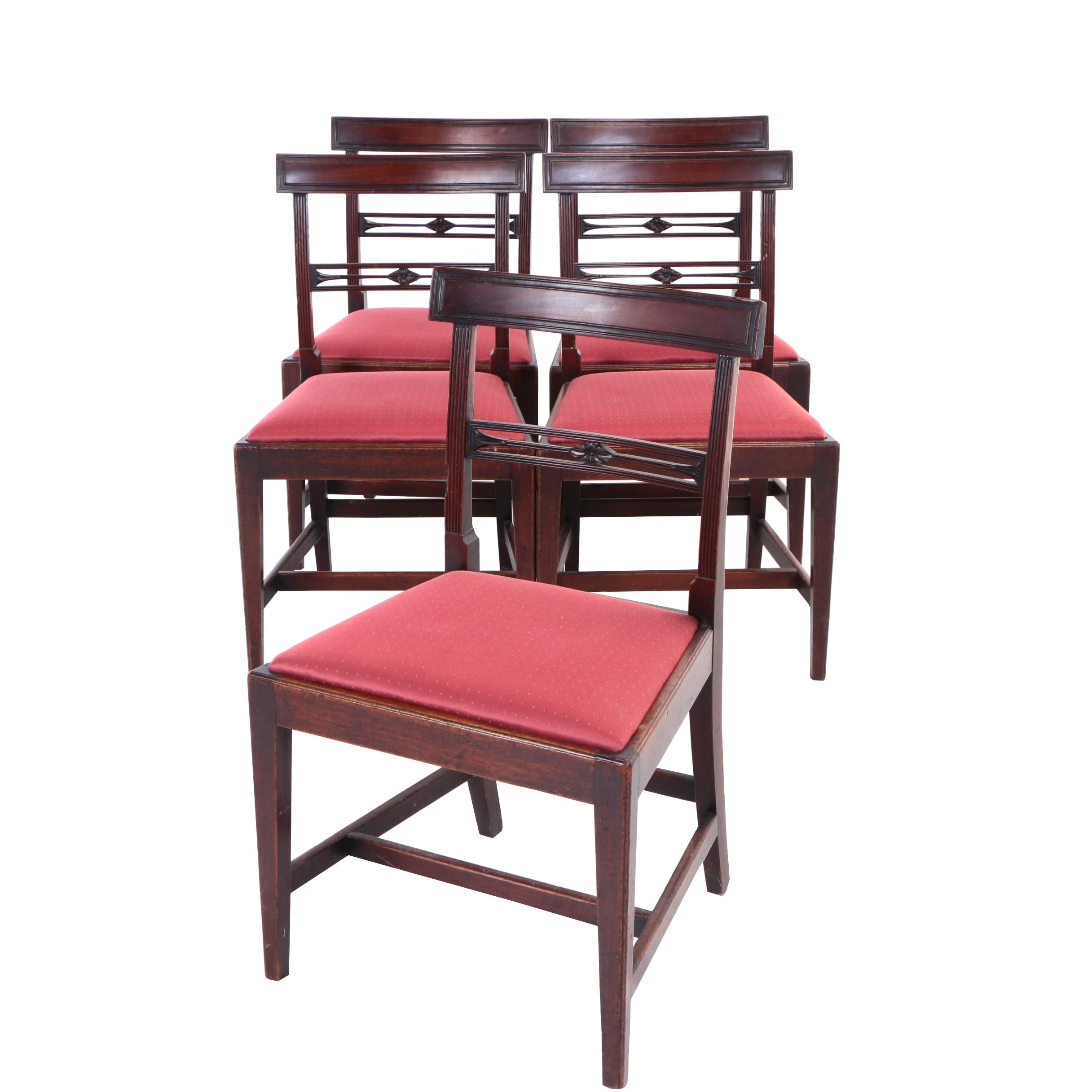 Five Carved Mahogany Dining Side Chairs, Probably English, 19th Century