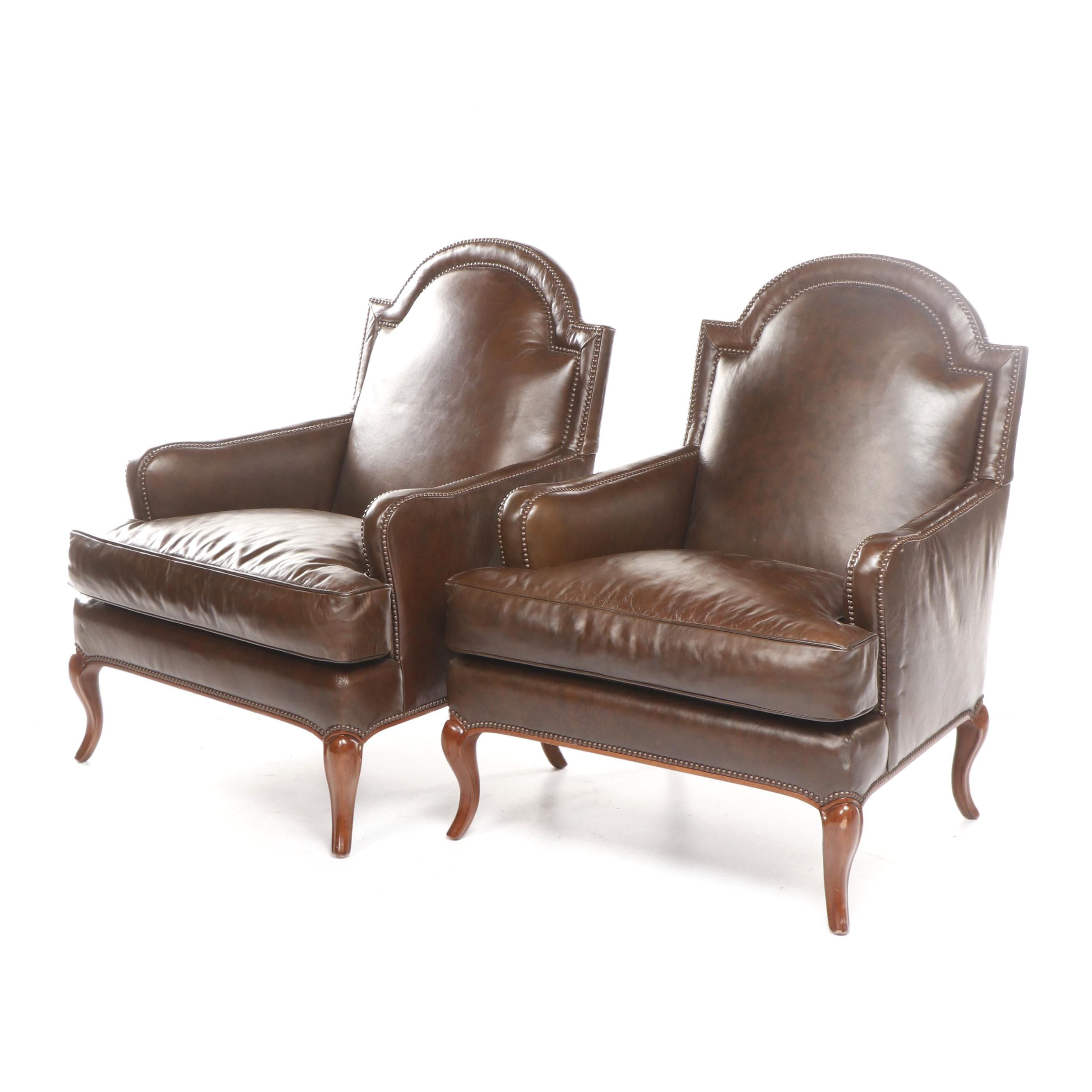 Pair of Baker Brown Leather Armchairs, Contemporary