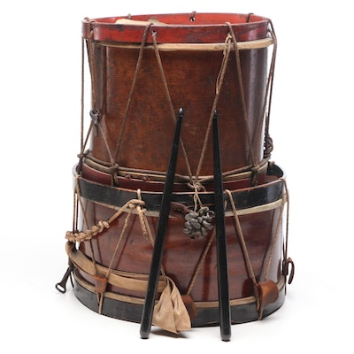 Parade or Militia Rope Tension Wood Drums with Sticks, Mid-Late 19th Century