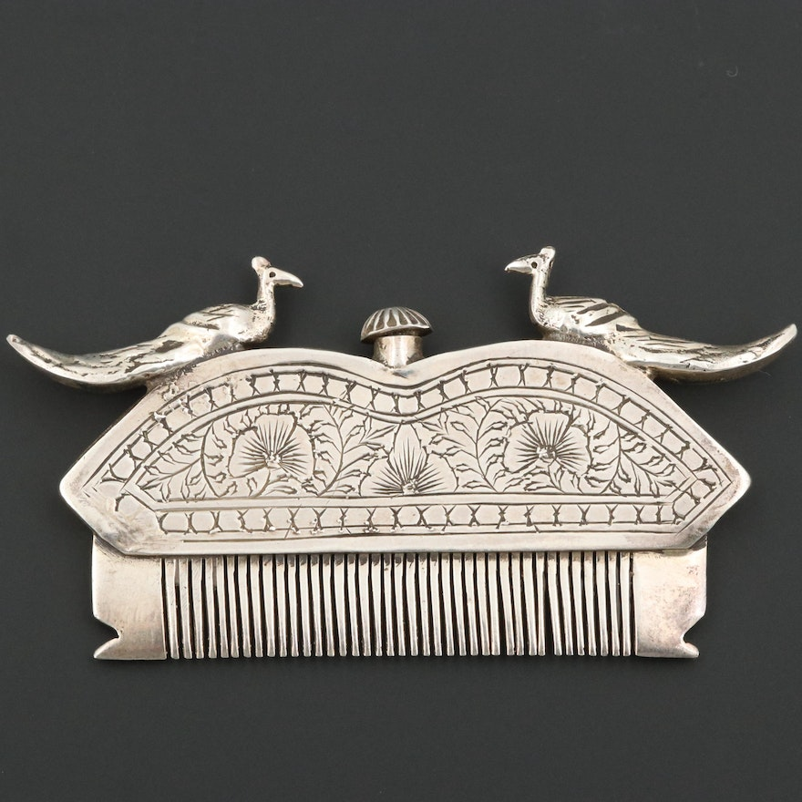 Vintage North Indian Style 800 Silver Peacock Perfume Comb