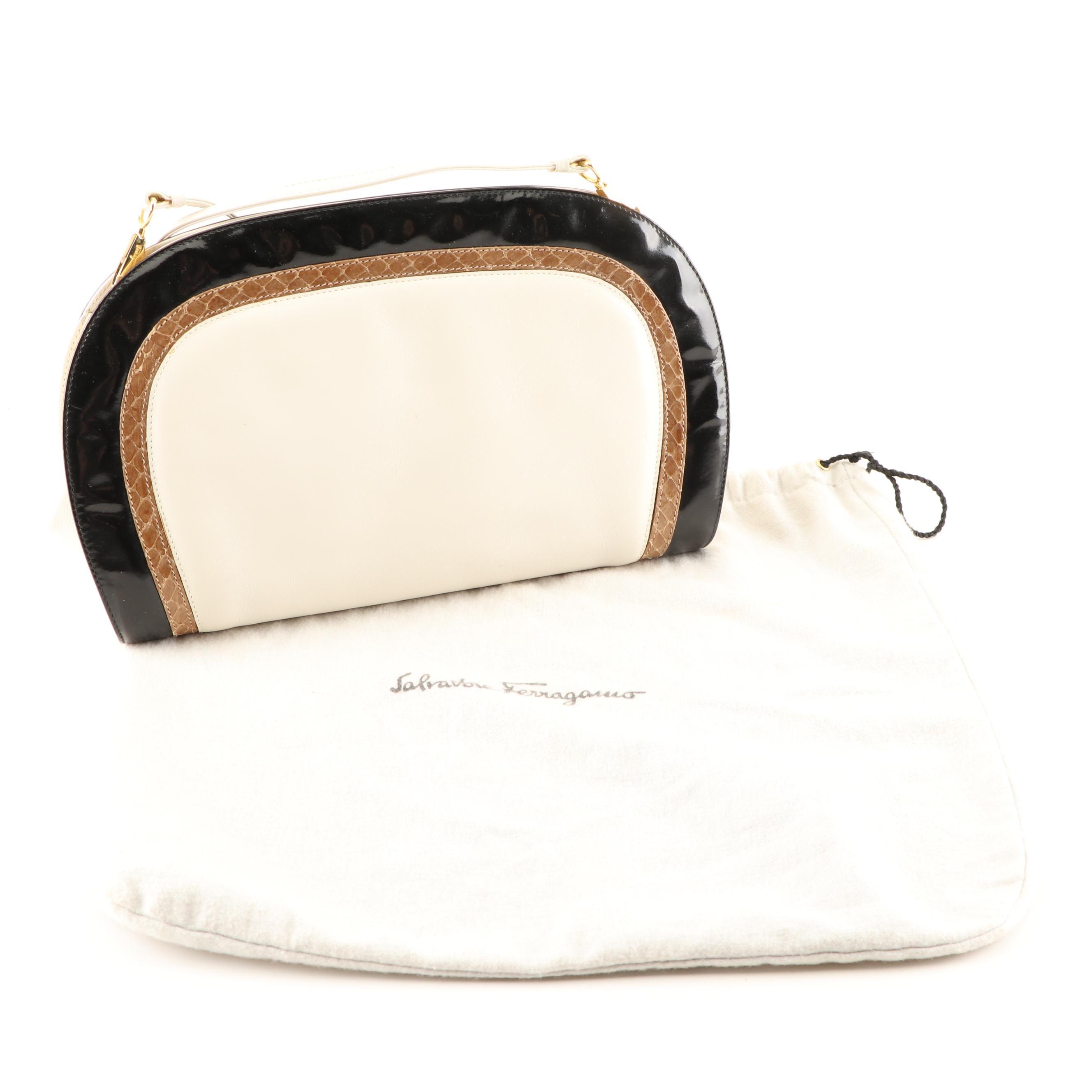 Savatore Ferragamo Ivory Leather Clutch With Tan Reptile and Black Patent Trim
