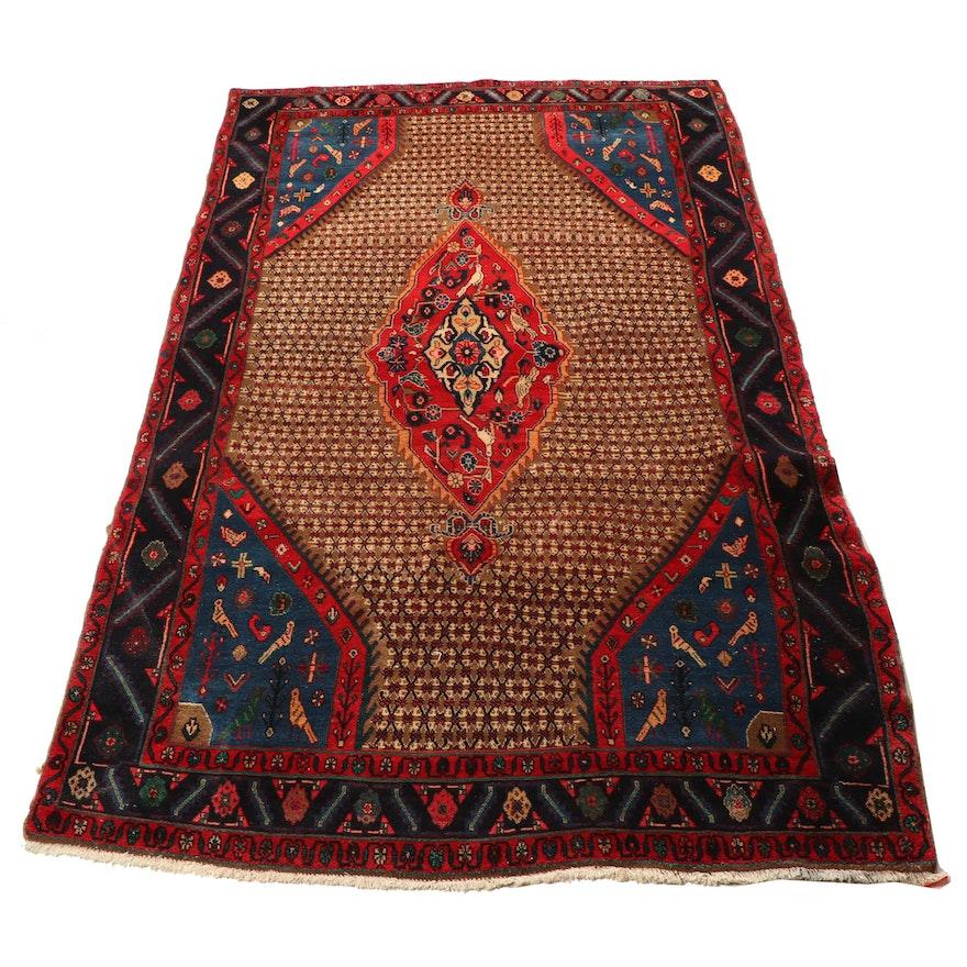 Hand-Knotted Persian Afshari Bijar Pictorial Medallion Wool Rug