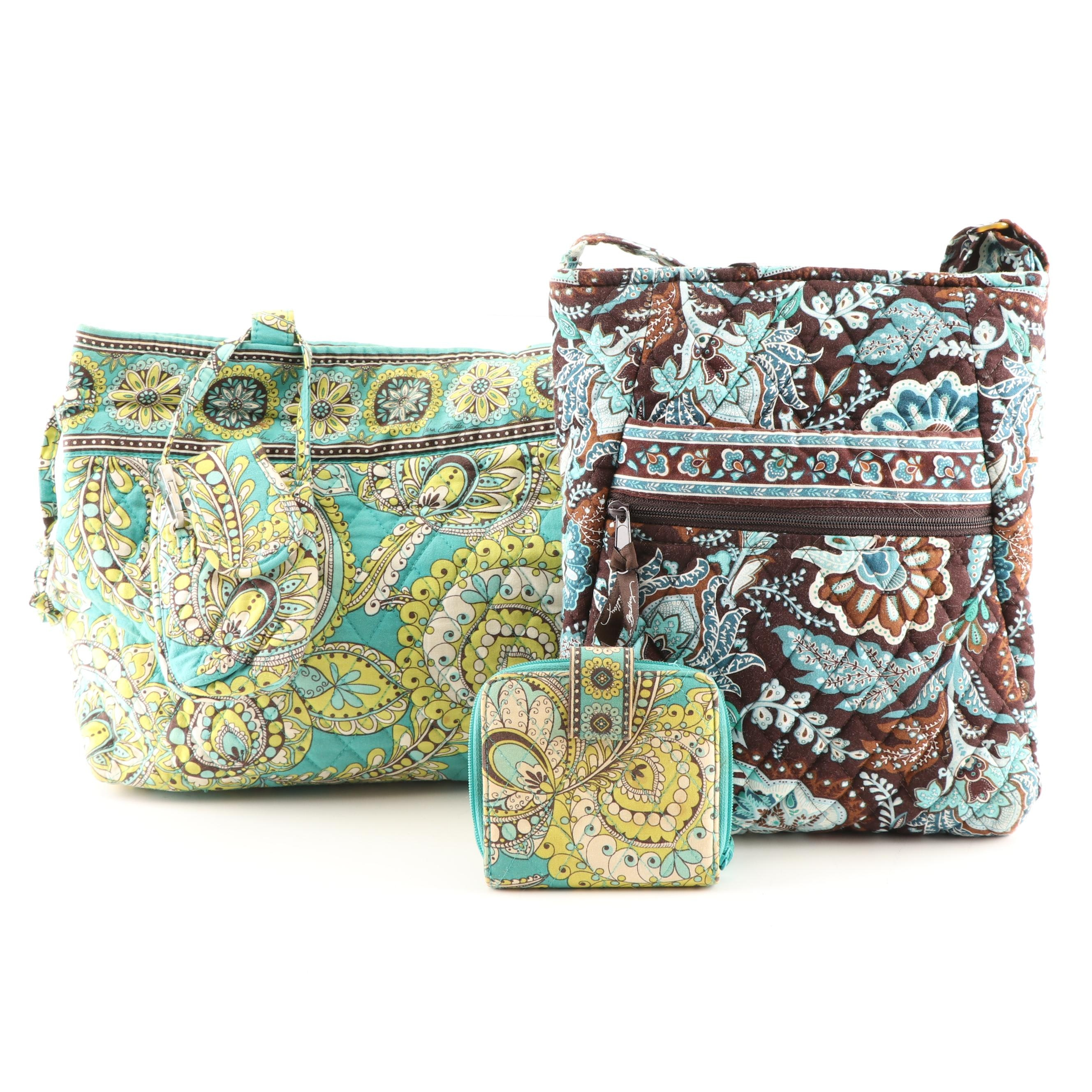 """Vera Bradley """"Peacock"""" Tote and Wallet with """"Java Blue"""" Crossbody Bag"""