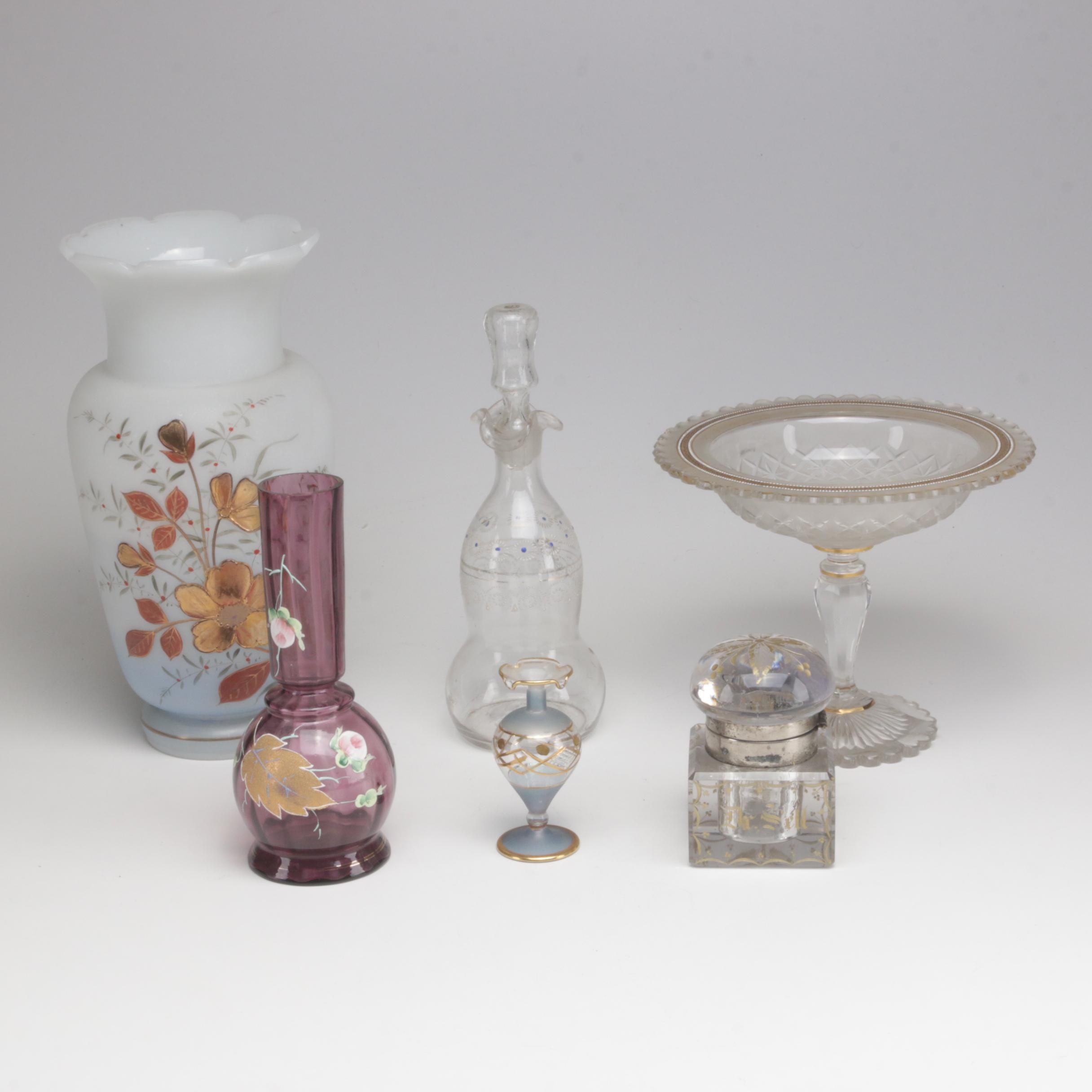 Antique Hand-Painted Glass Compote, Vases, Decanter and Inkwell