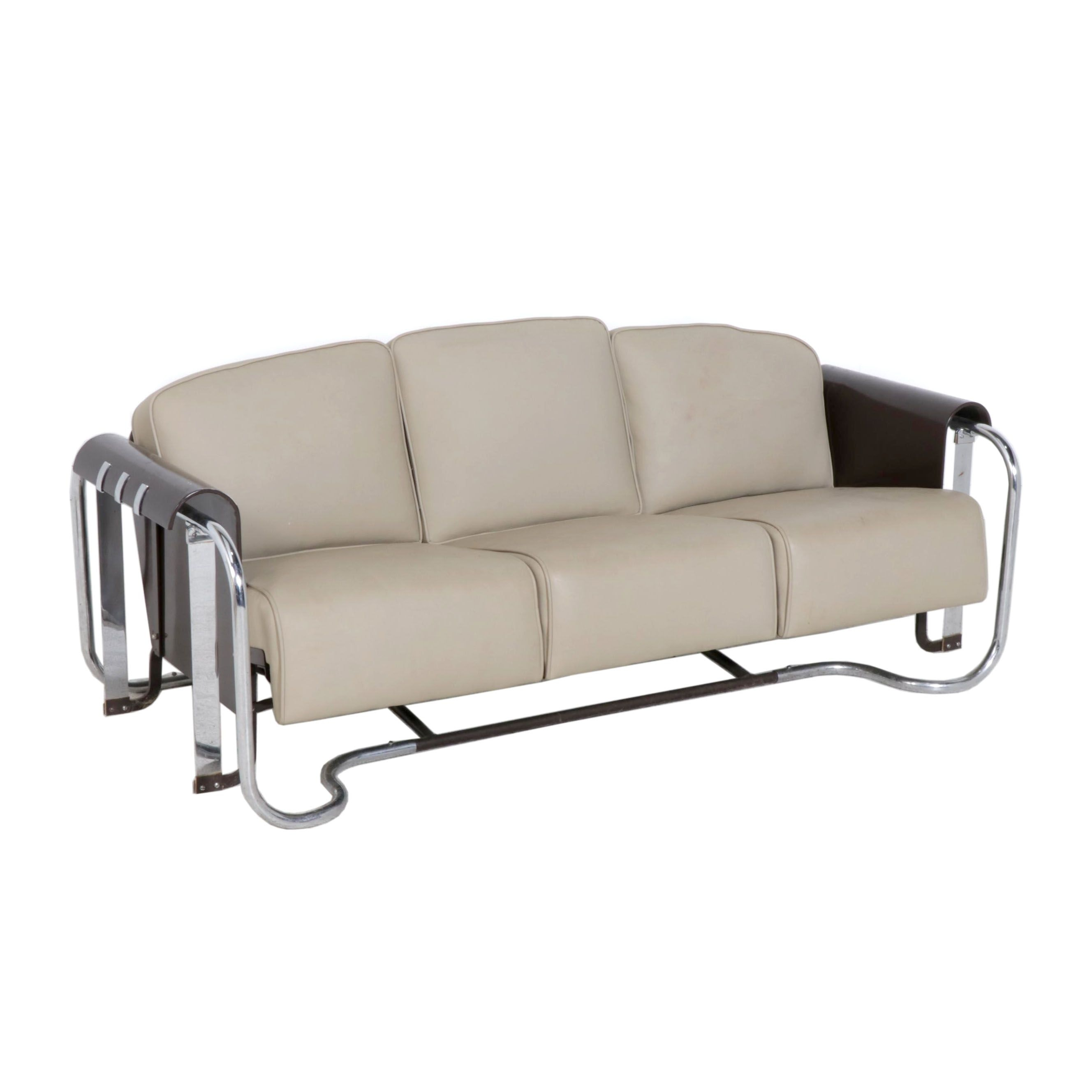 Contemporary Faux Leather Glider Sofa on Chrome Frame