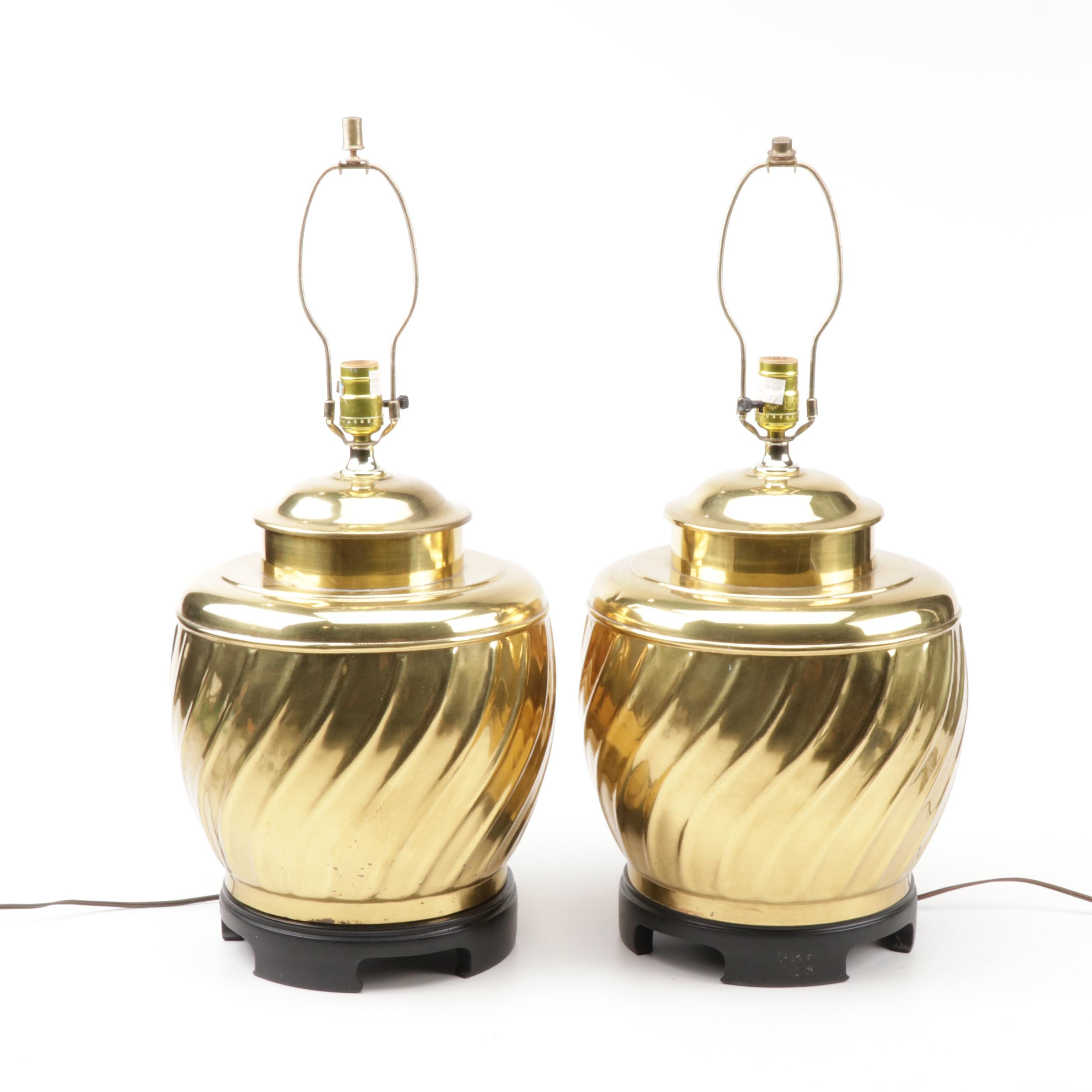Swirled Brass Urn Table Lamps