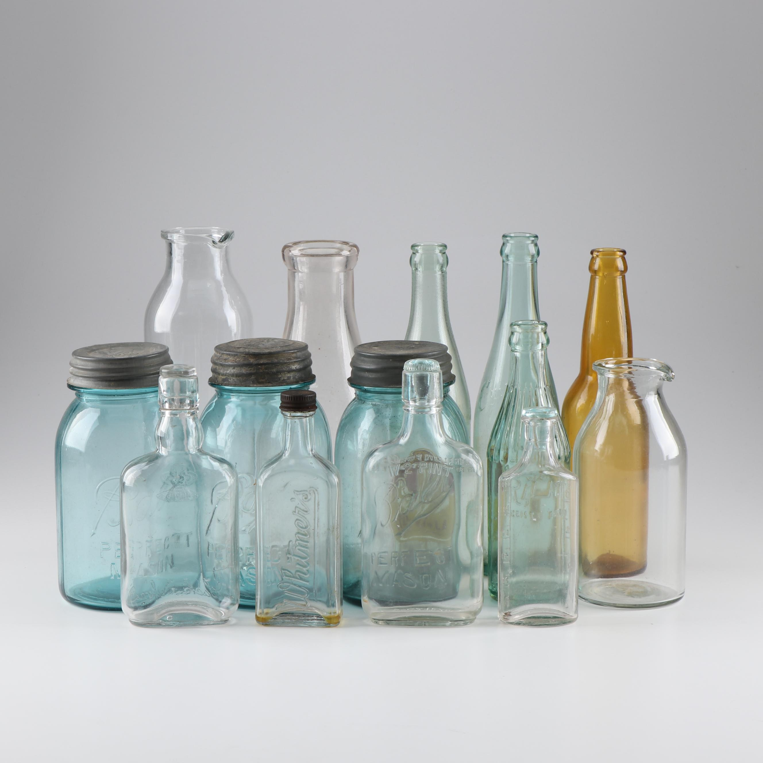 Vintage Ball Blue Glass Mason Jars and Bottles