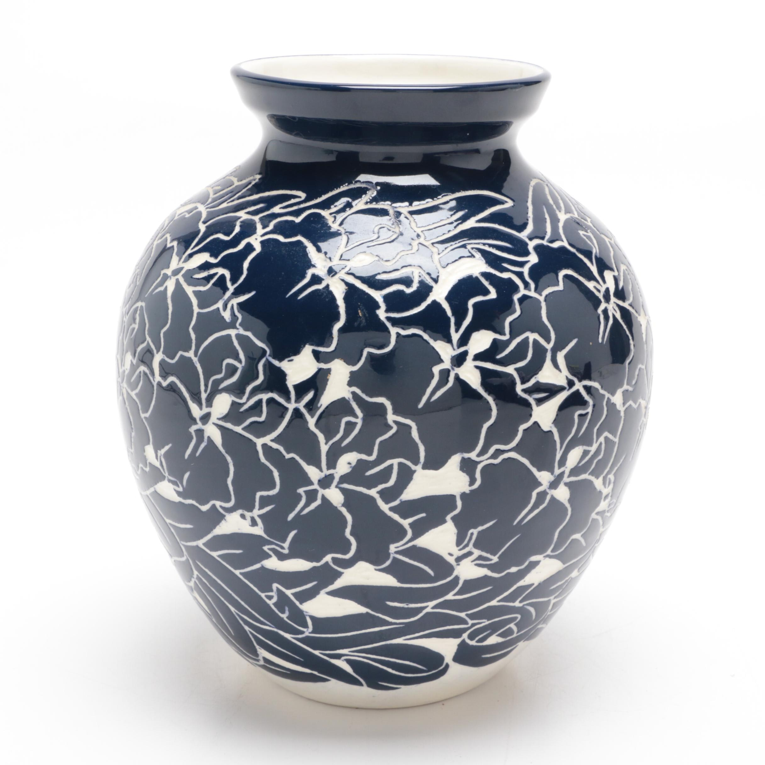 Ken Tracy Porcelain Sgraffito Vase, Late 20th Century