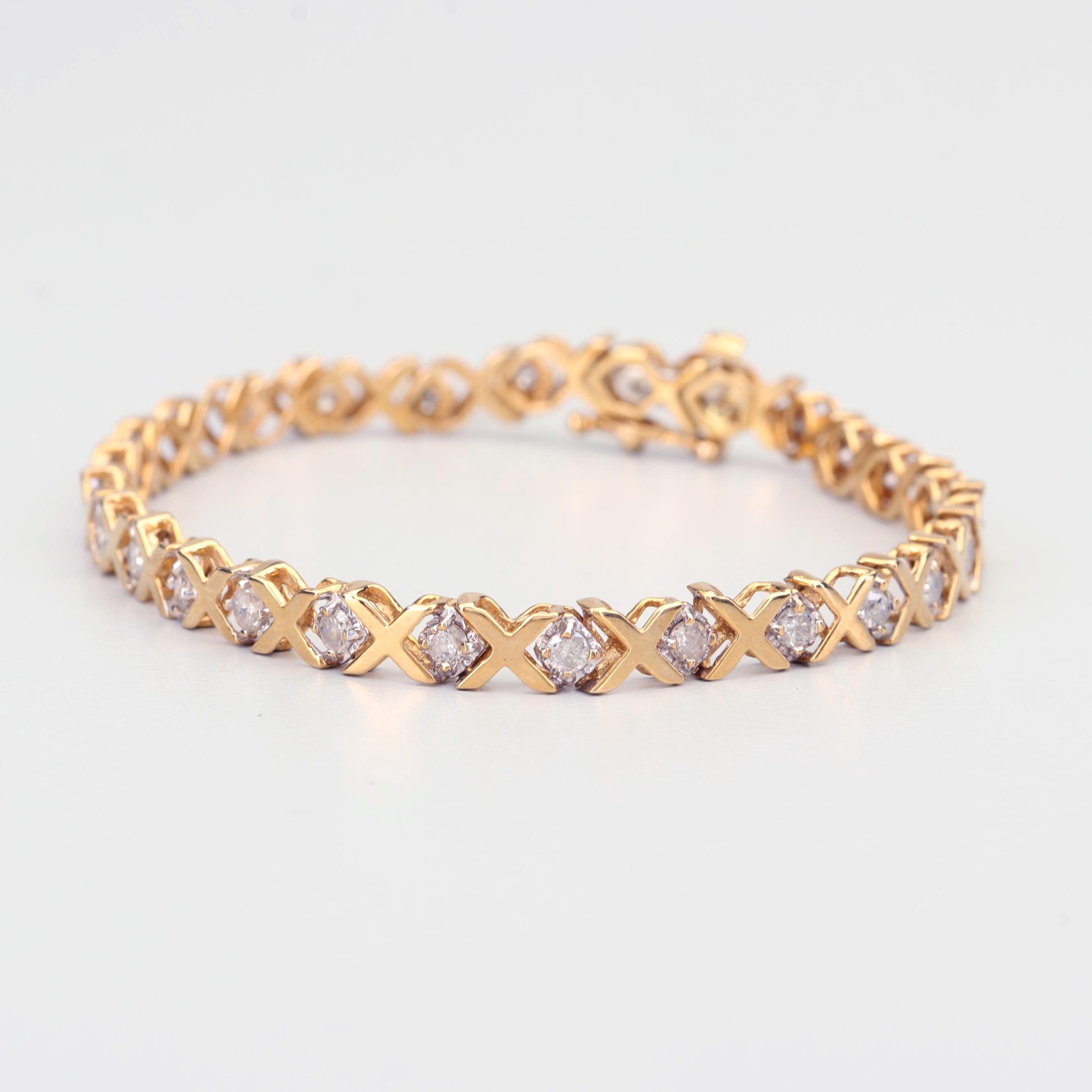 10K Yellow Gold 2.00 CTW Diamond Bracelet