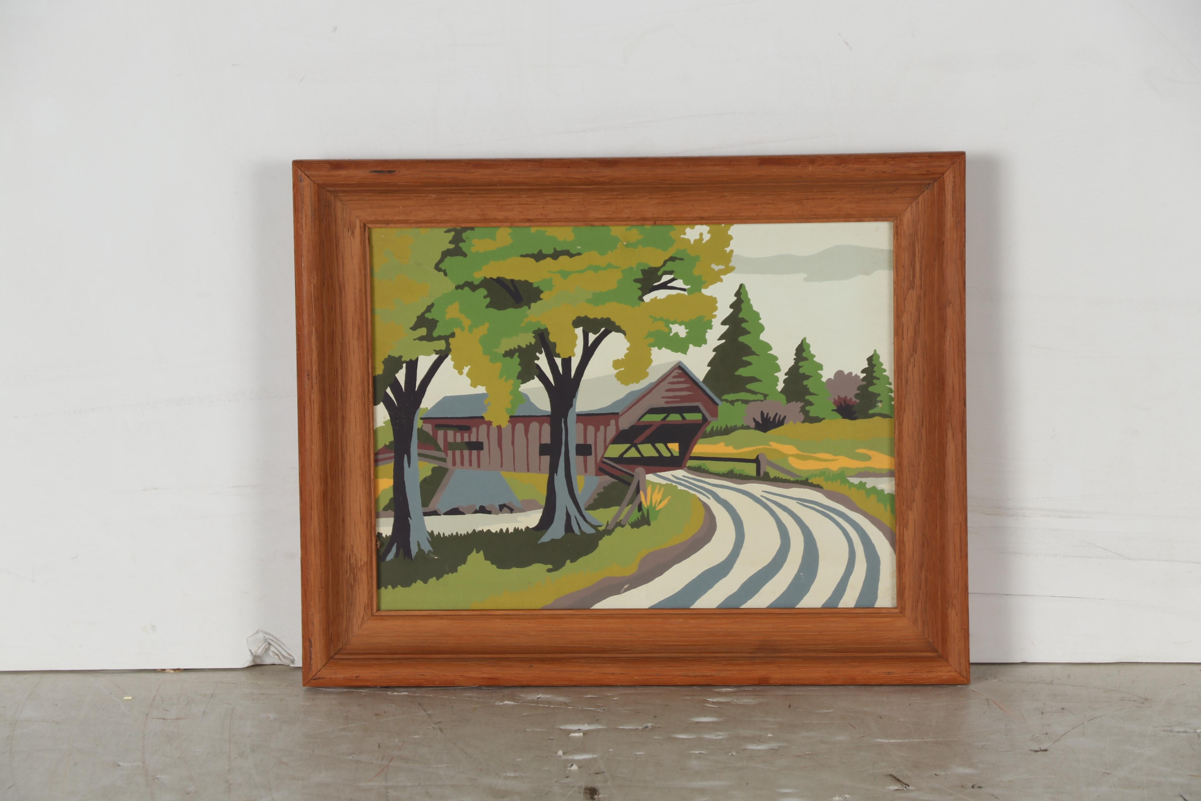 Late 20th Century Acrylic Painting of Rural Landscape