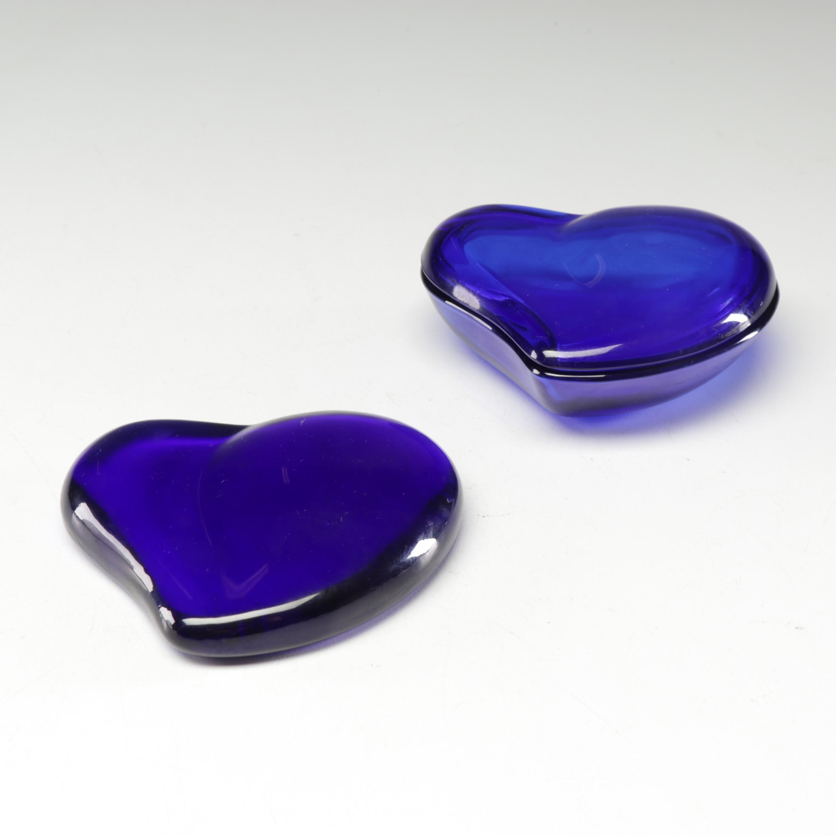 Tiffany & Co. Elsa Peretti Cobalt Blue Glass Heart Paperweight and Box