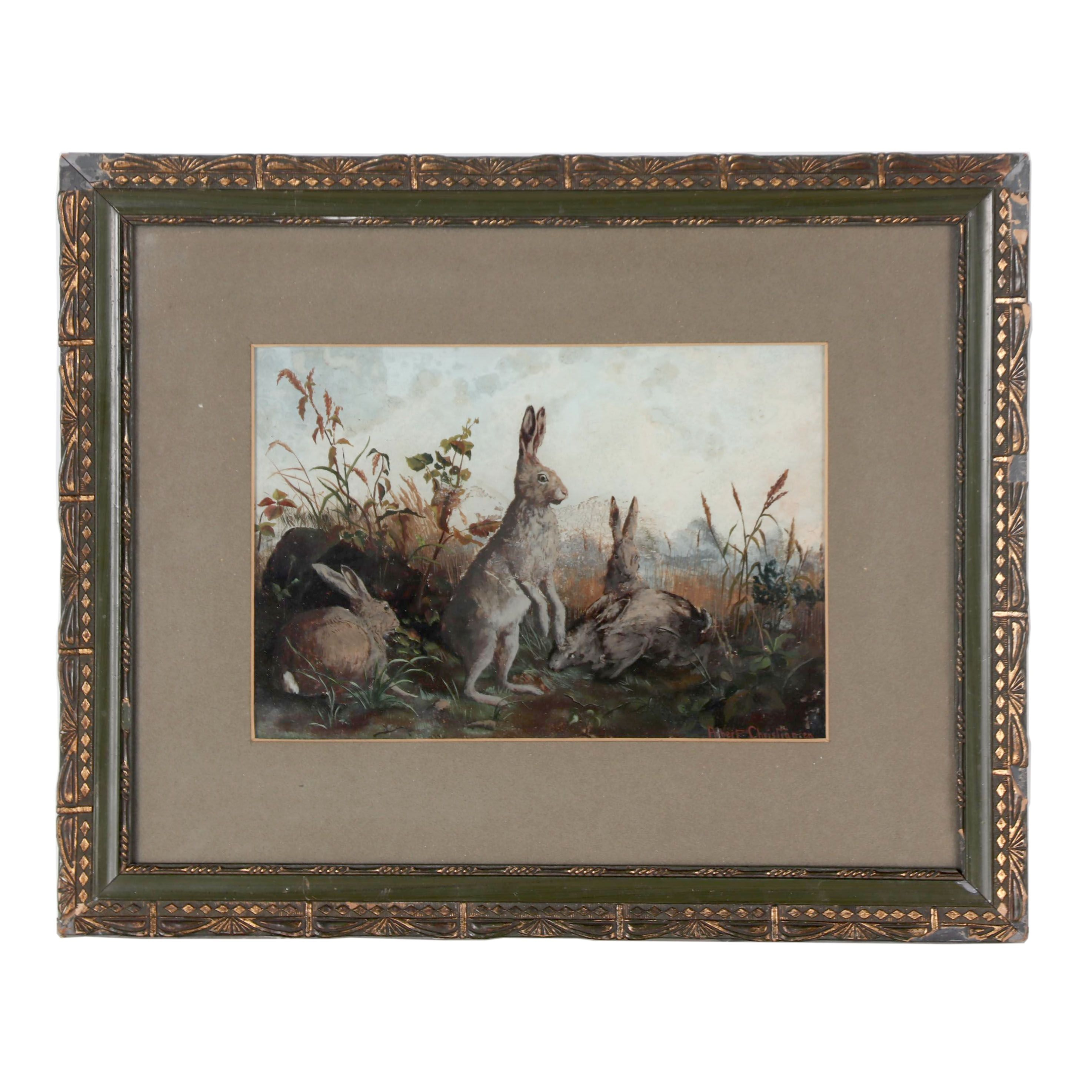 Albert Christiansen 19th Century Reverse Glass Oil Painting