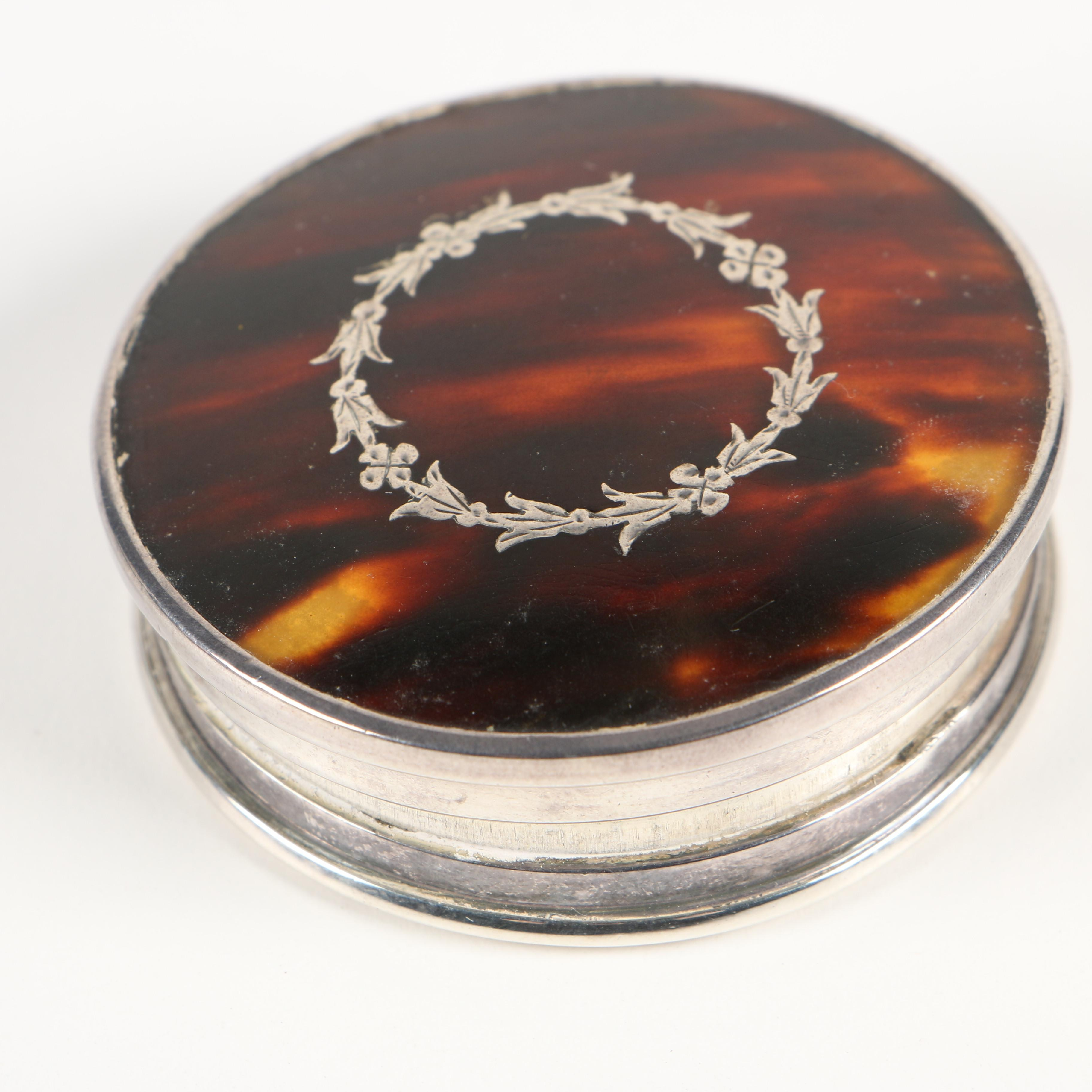 English Import Sterling Mounted Tortoiseshell Compact, Early 20th Century