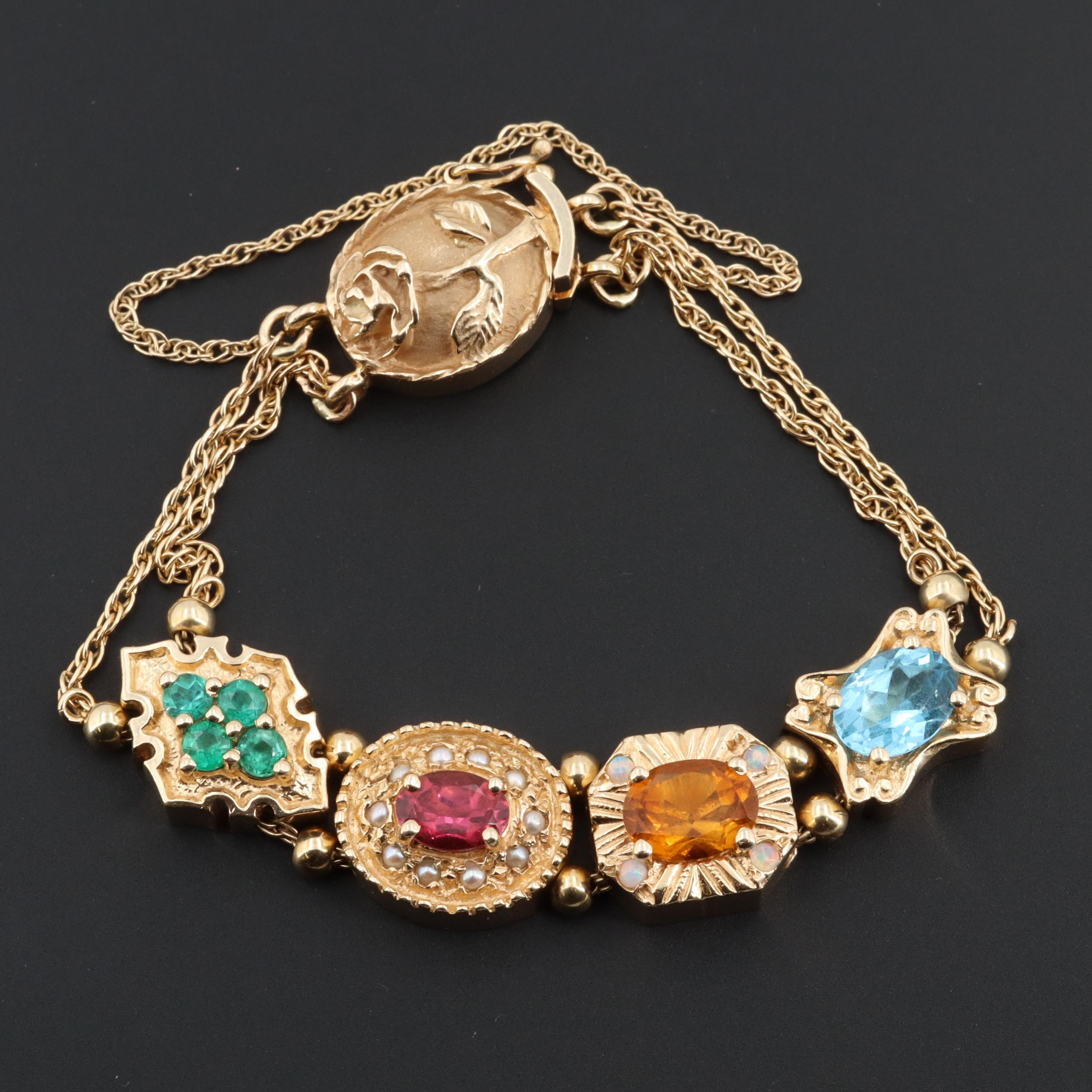 Goldman Kolber 14K Gold Mixed Gemstone Slide Charm Bracelet with Seed Pearls
