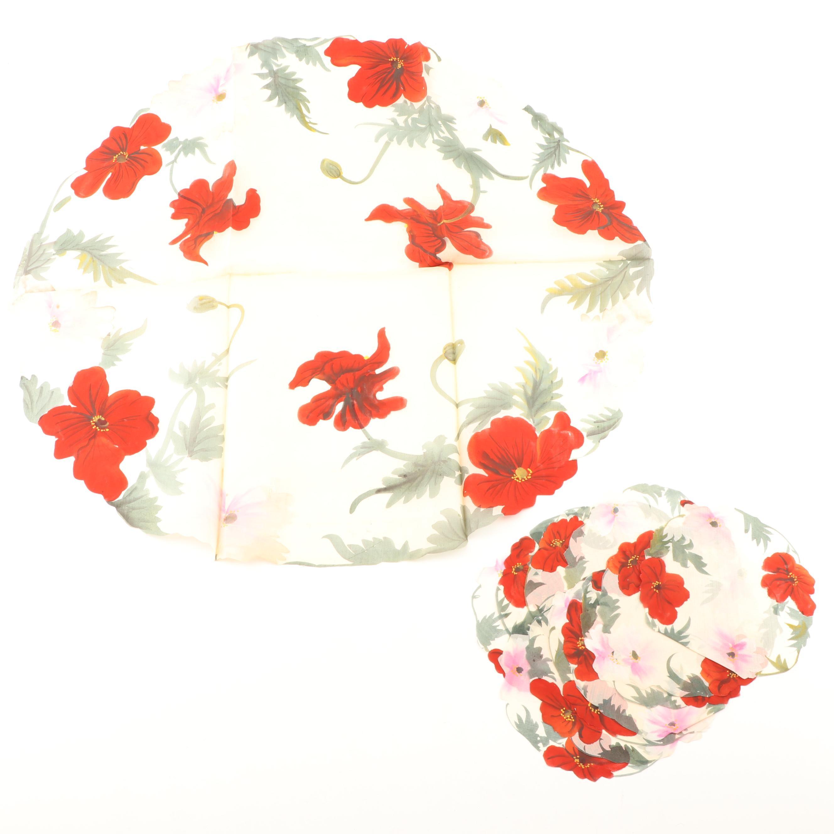 Portfolio of Floral Gouache Paintings on Silk