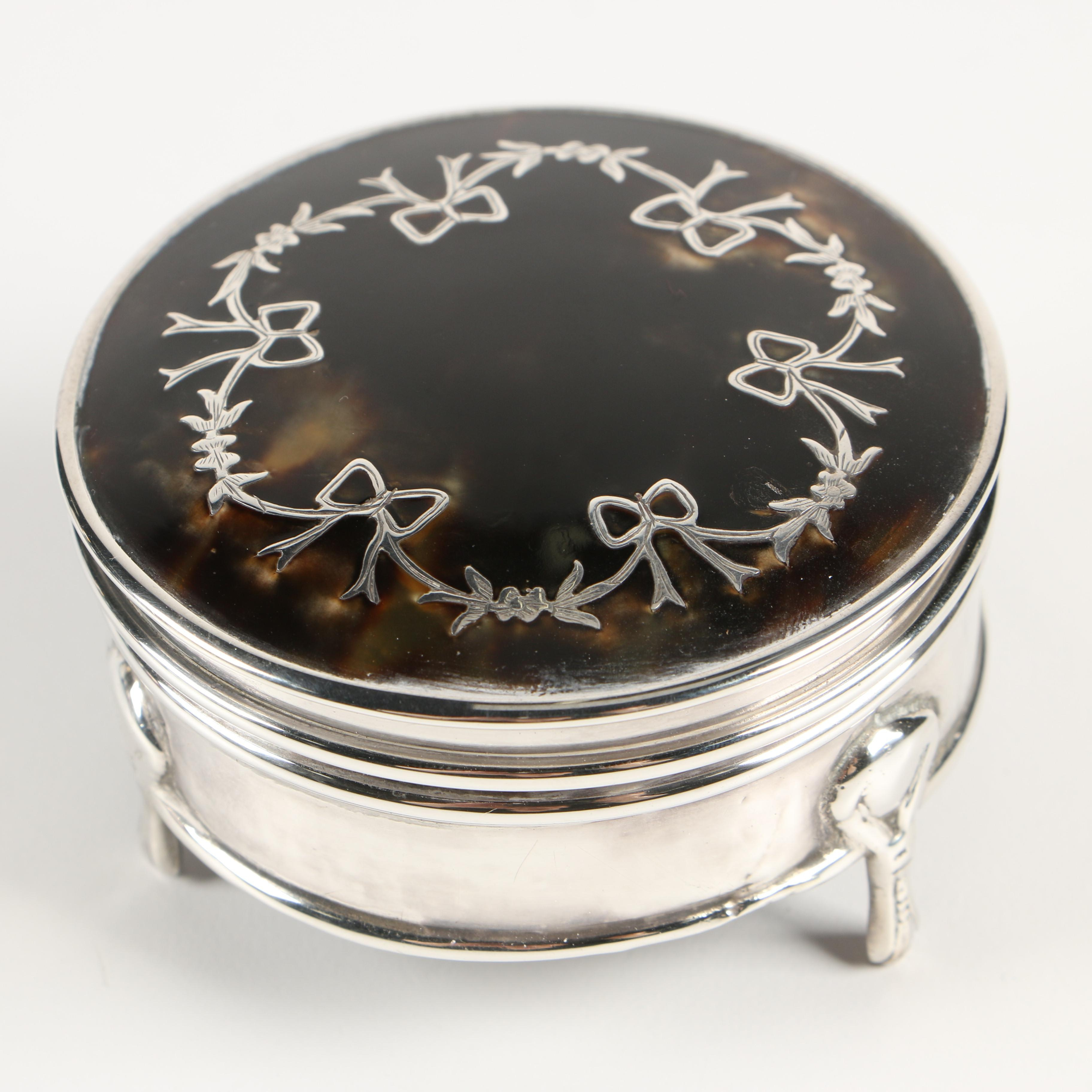Wright & Davies of London Sterling Mounted Tortoiseshell Jewelry Box, 1919