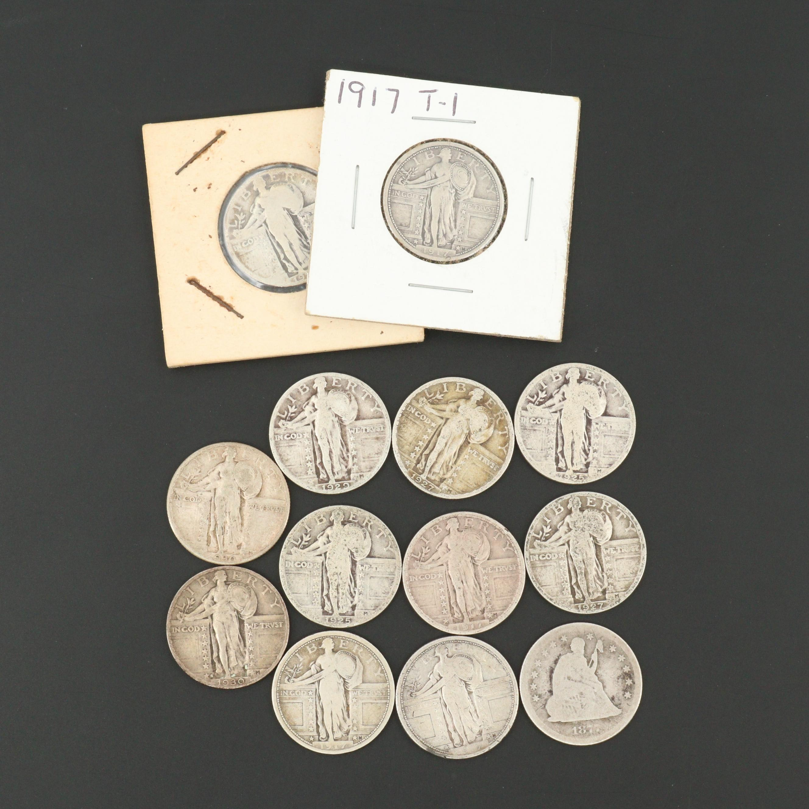Thirteen American Silver Quarters Including 1877 Seated Liberty