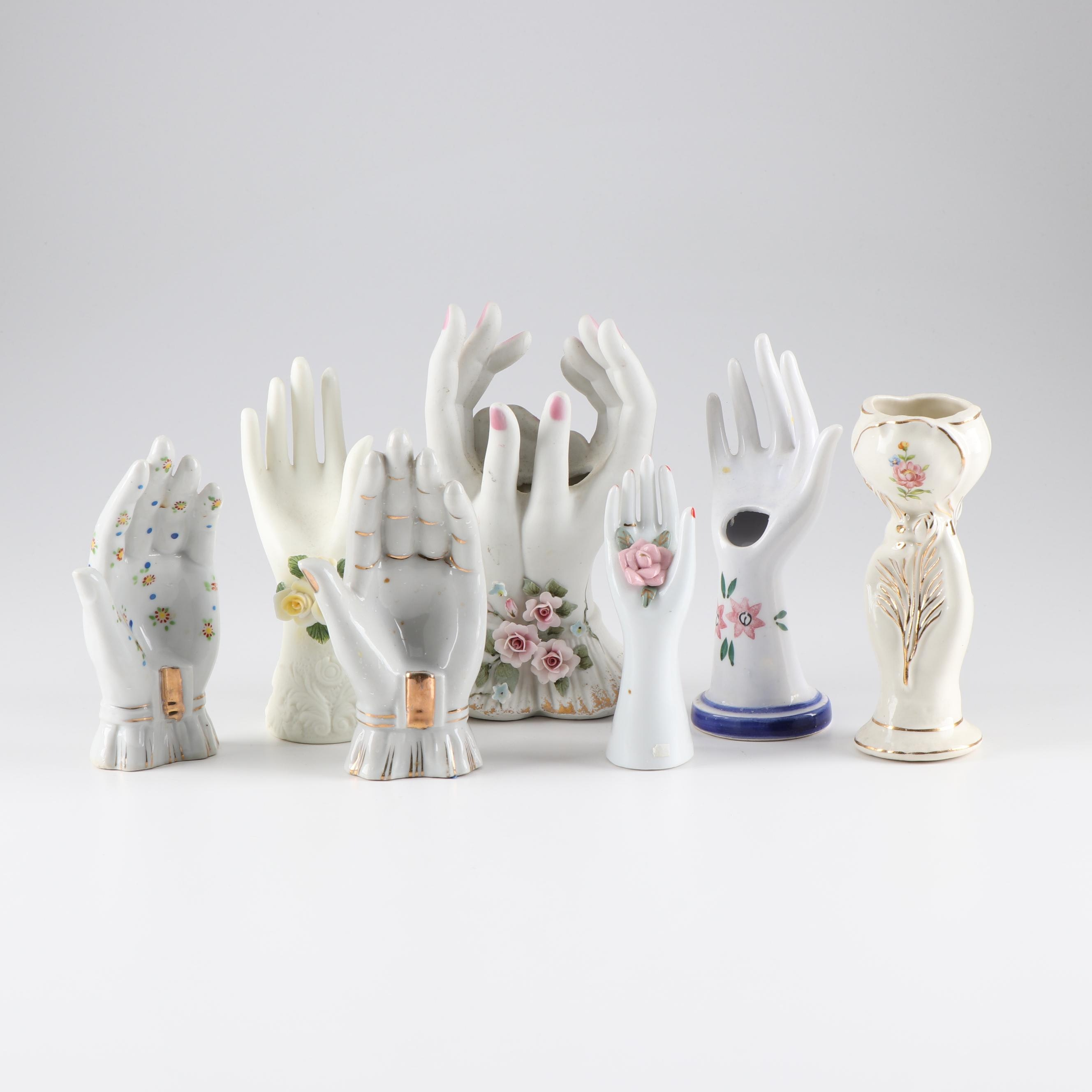 Lefton and Other Porcelain and Ceramic Hand Vases and Ring Holders, Mid-Century