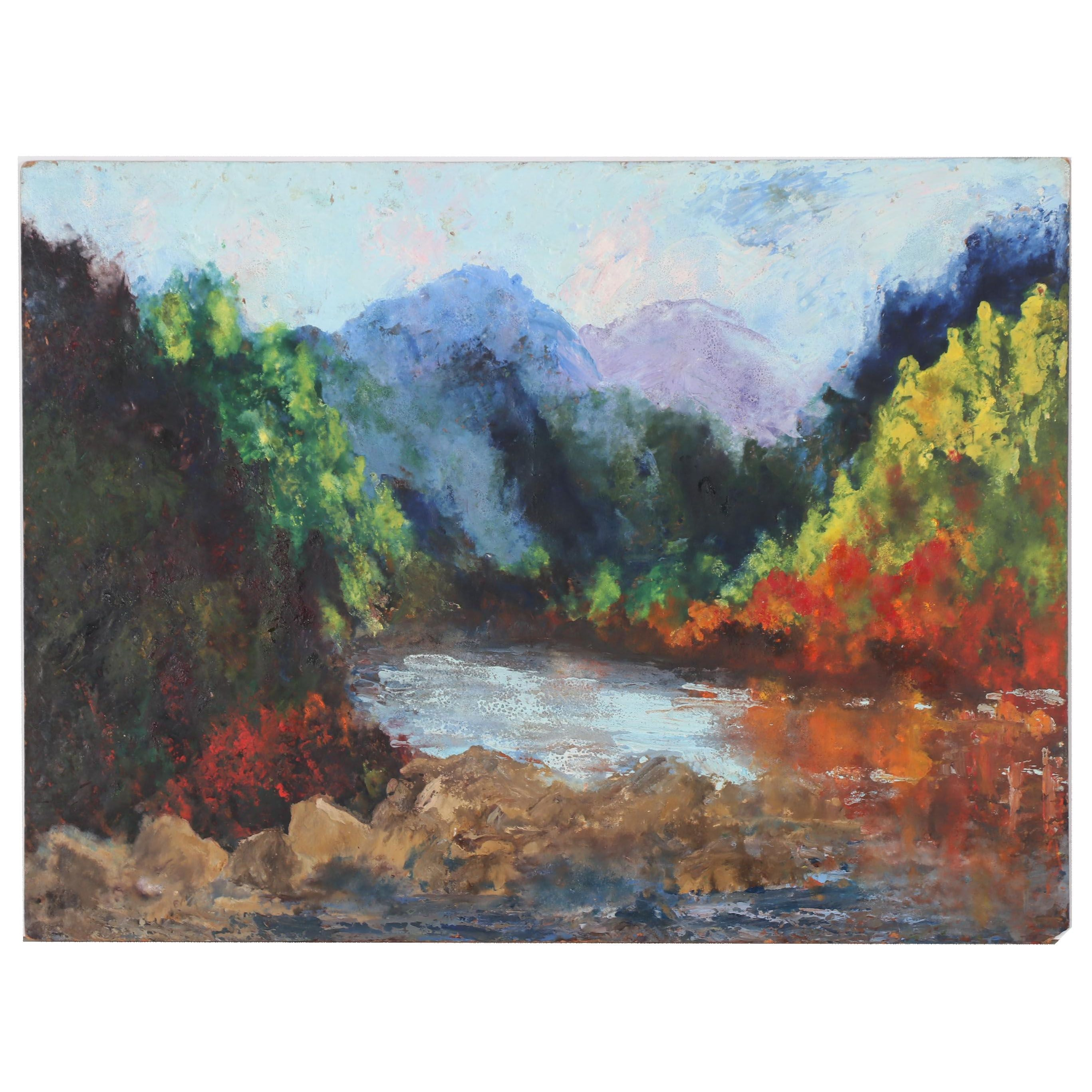 Late 20th Century Acrylic Landscape Painting