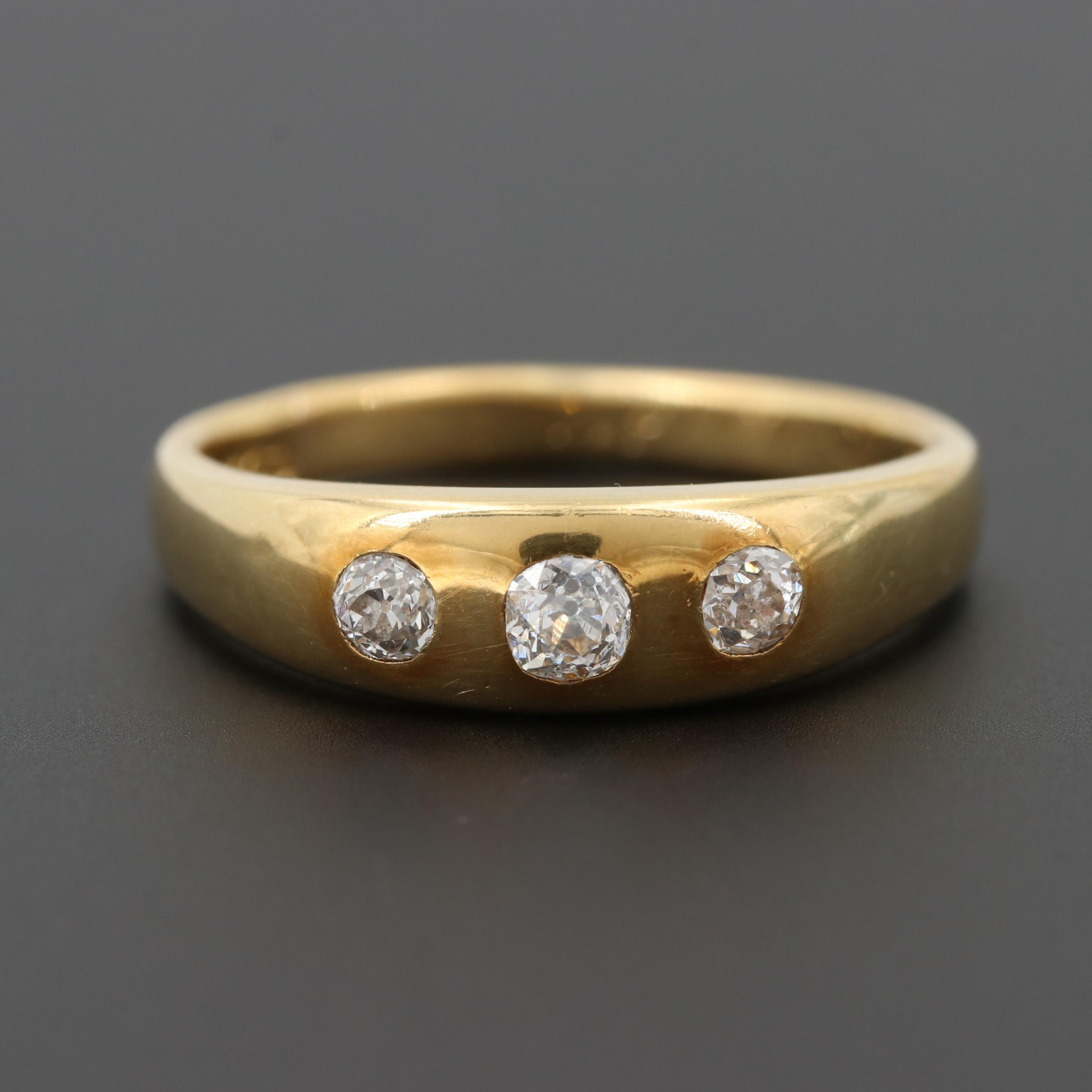 Late Victorian 18K Yellow Gold Diamond Tapered Band