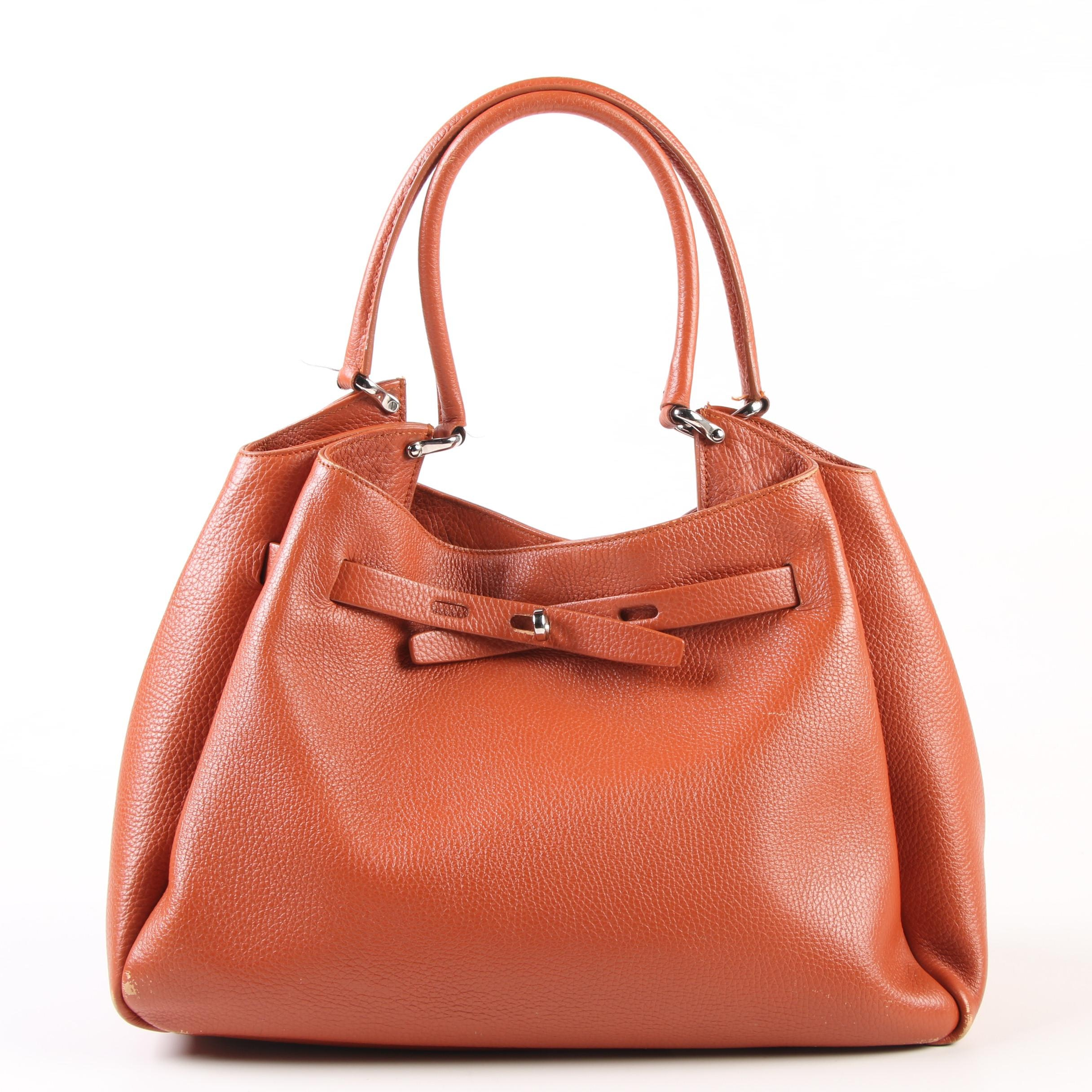 Mauro Governa Shoulder Bag in Pebbled Leather with Turnlock Drawstring