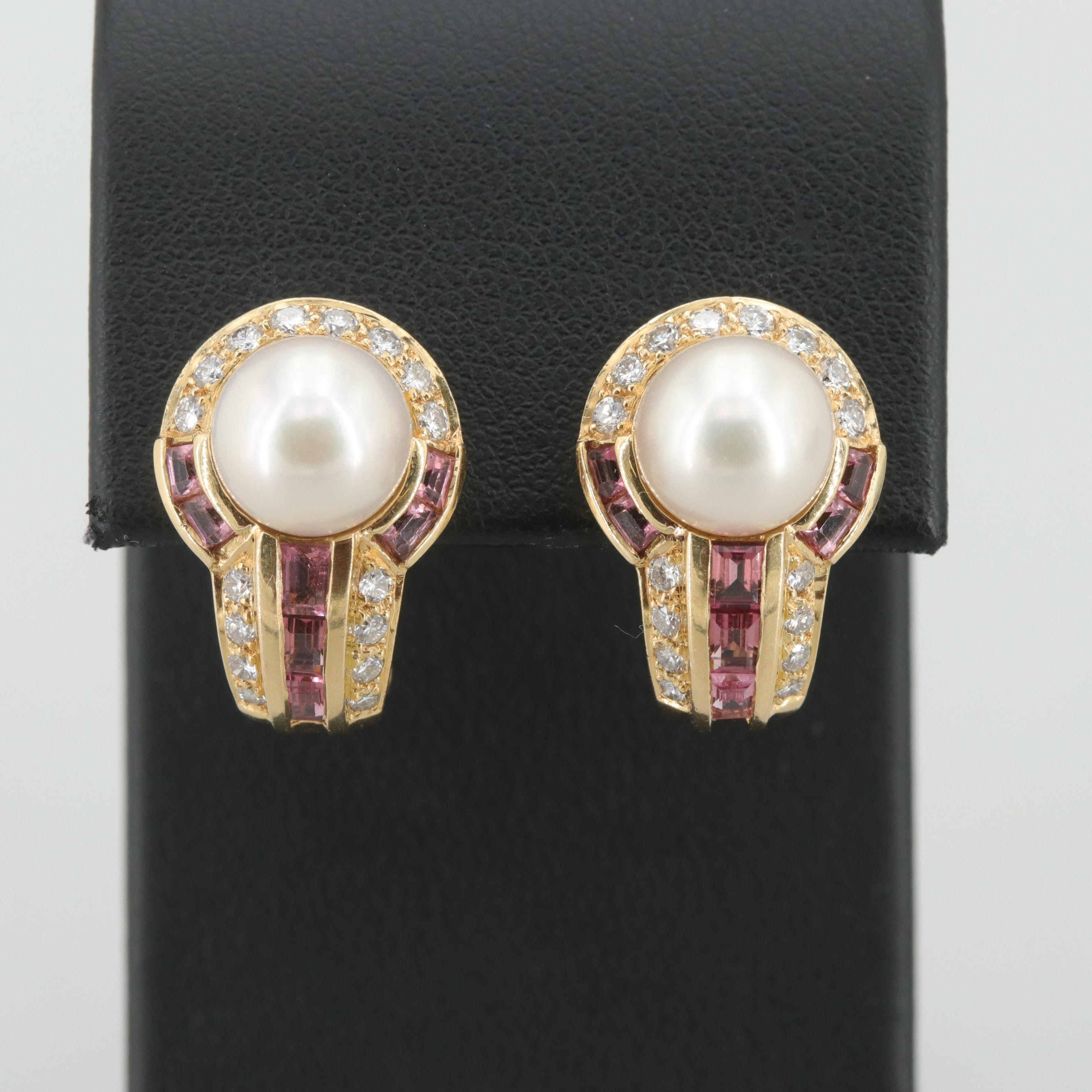 18K Yellow Gold Cultured Pearl, Pink Tourmaline and Diamond Drop Earrings