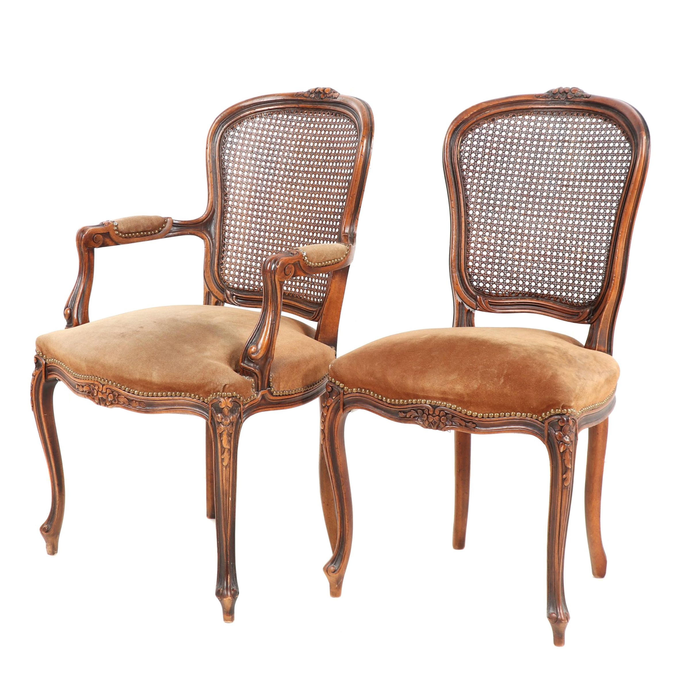 Pair of Caneback Suede Upholstered Chairs, Mid 20th Century