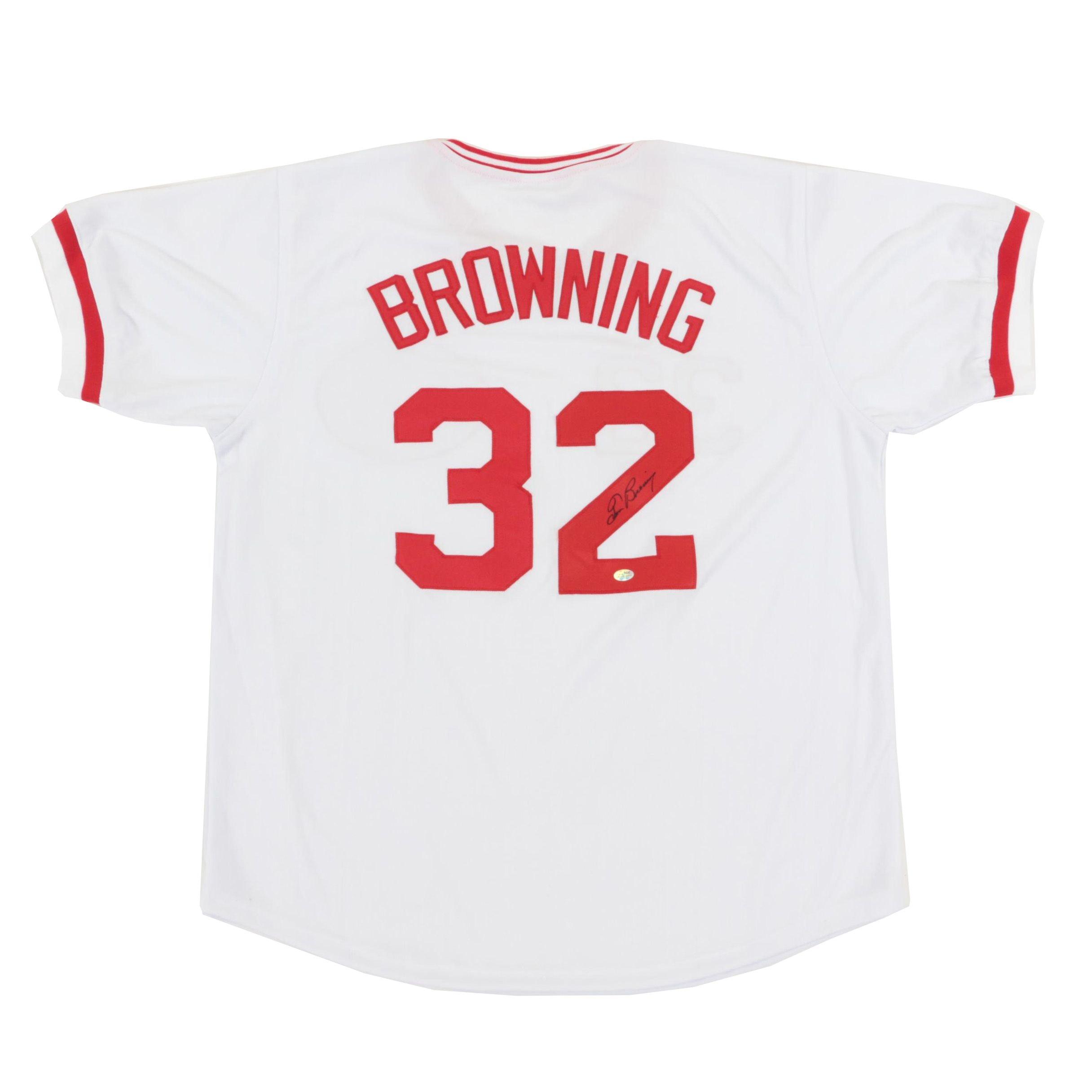 Tom Browning Signed Cincinnati Reds Replica Jersey  COA