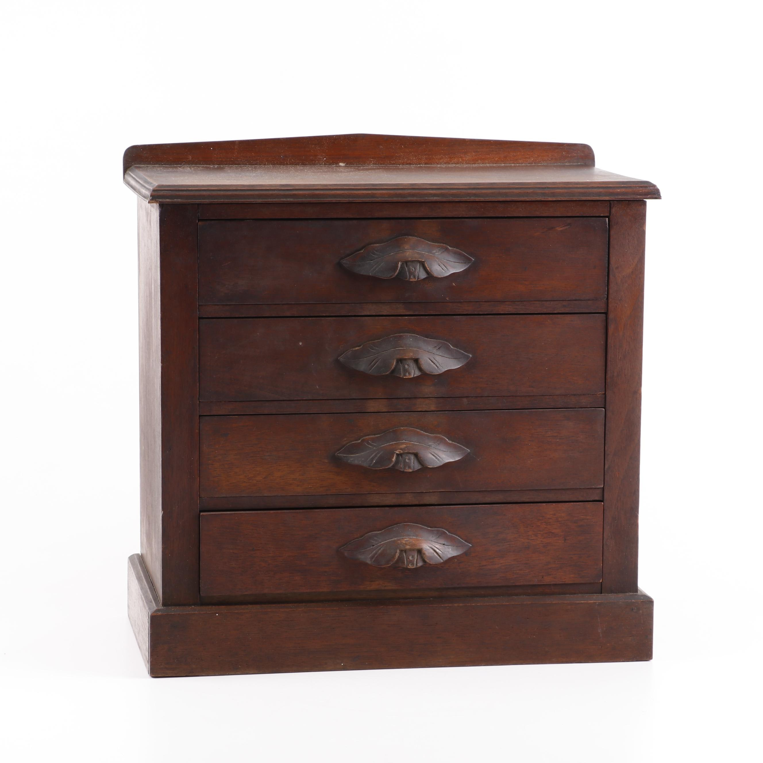 Oak Table Top Chest of Drawers, Mid 19th Century